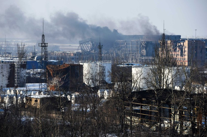 Smoke rises over the new terminal of Donetsk airport, Jan. 15, 2015.