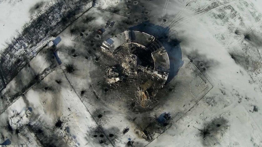 The destroyed control tower at the airport in Donetsk, eastern Ukraine, Jan. 15, 2015.