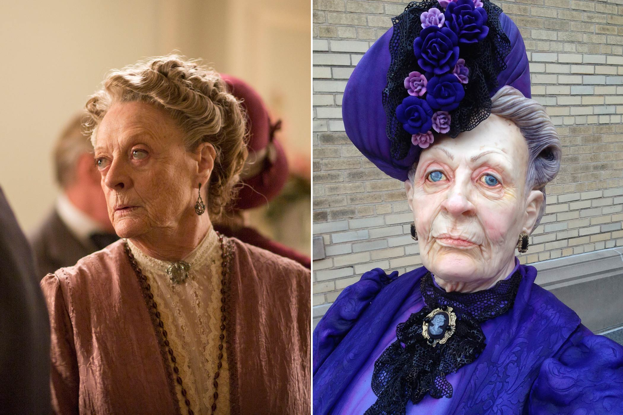 From left: Maggie Smith as the Dowager Countess in Downton Abbey; Dowager Countess cake by Karen Portaleo