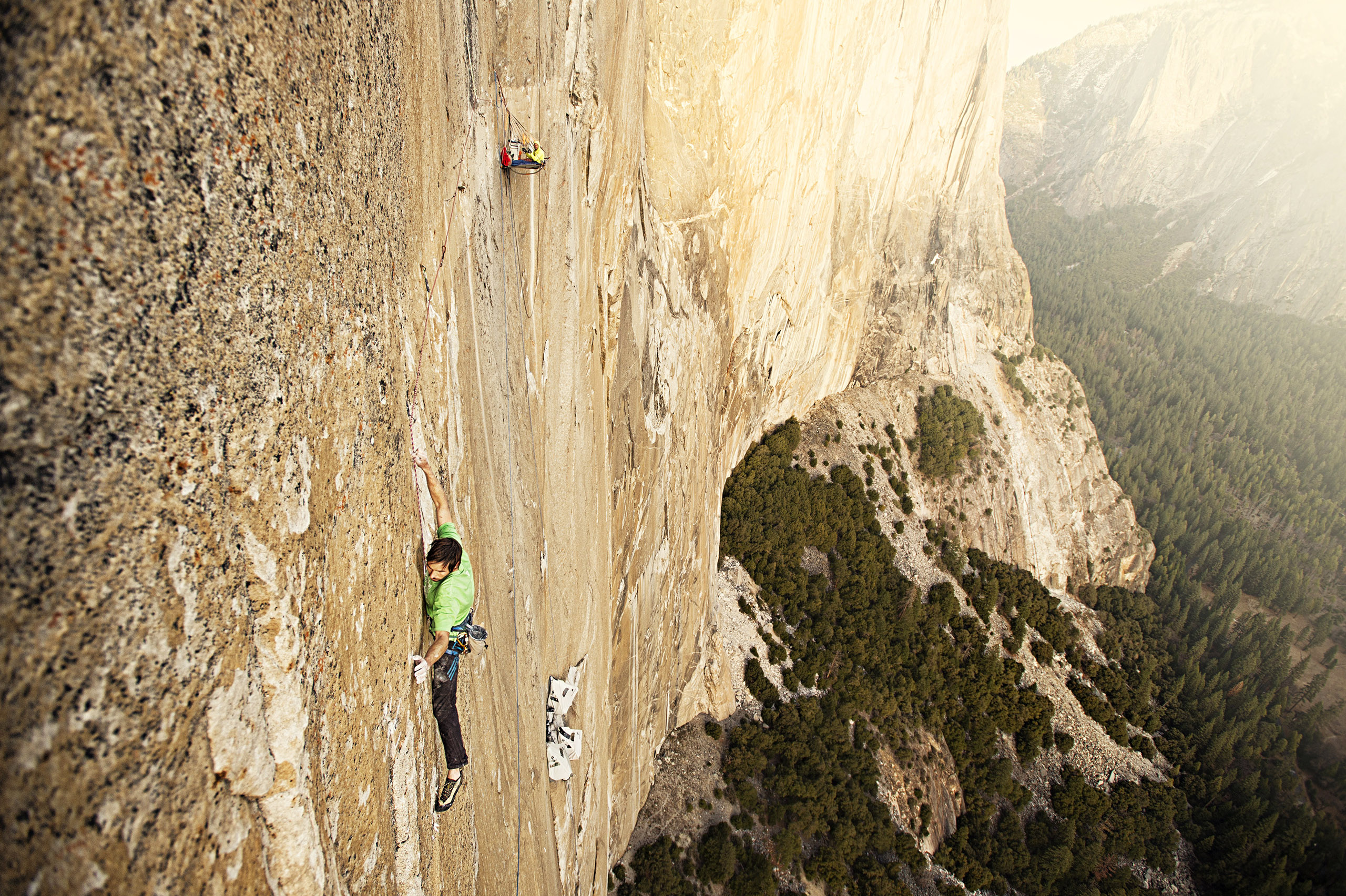 Kevin Jorgeson attempts to scale the Dawn Wall on the southeast side of El Capitan, a rock formation in Yosemite National Park in California