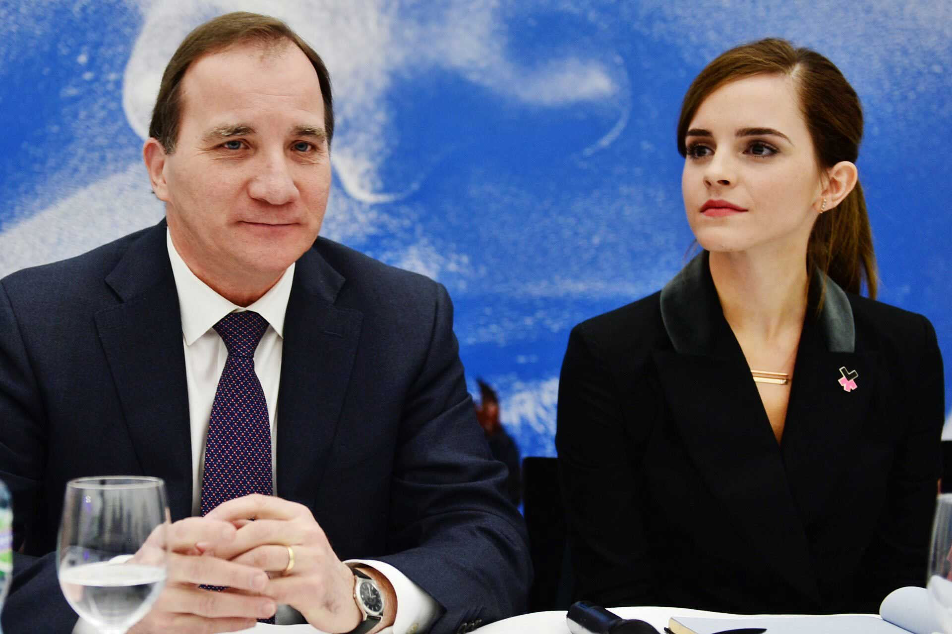 Swedish prime minister Stefan Löfven and actress Emma Watson attend the World Economic Forum Annual Meeting 2015 in Davos, Switzerland.