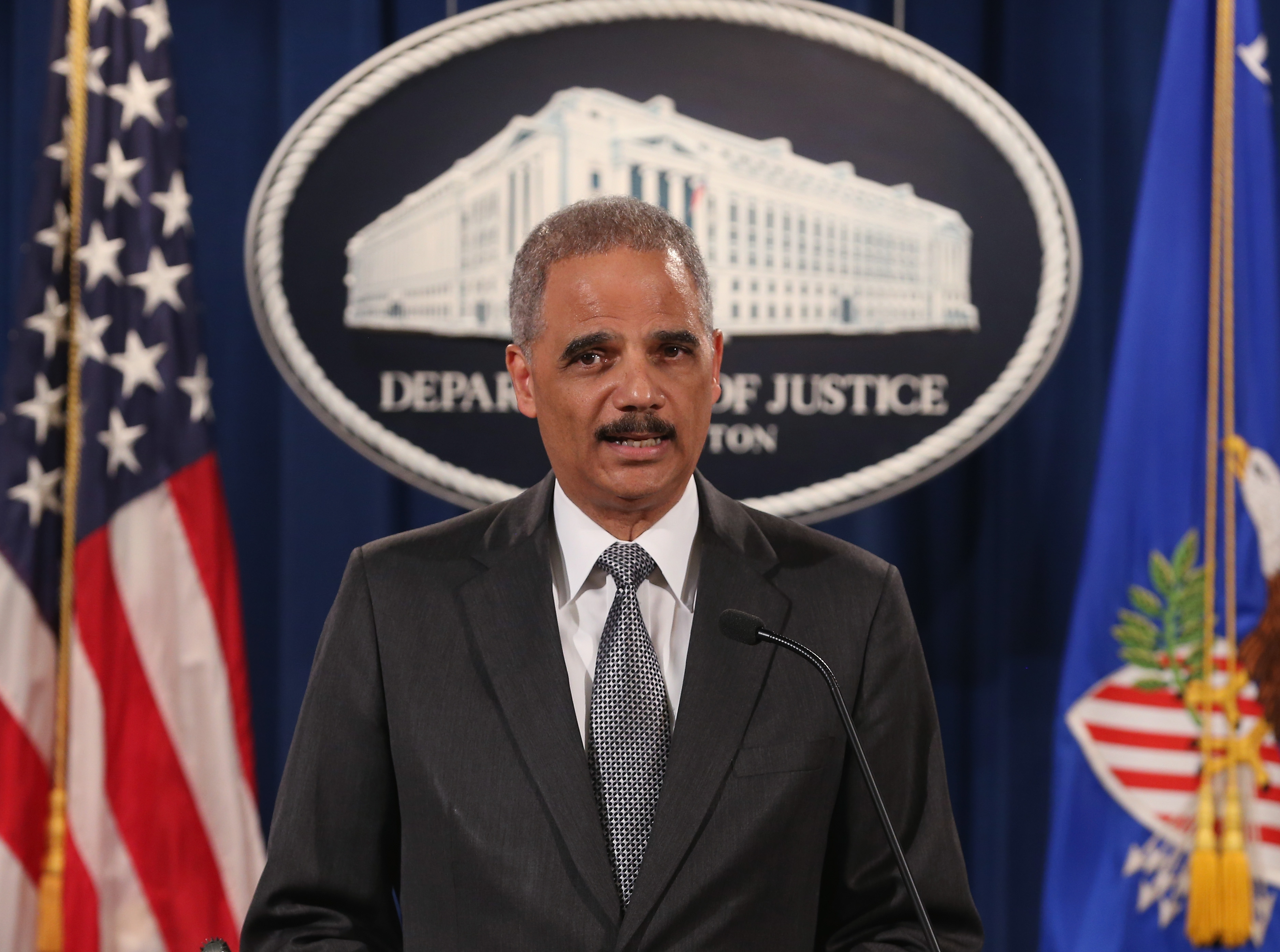 U.S. Attorney General Eric Holder speaks at the Justice Department on Dec. 3, 2014 in Washington D.C.