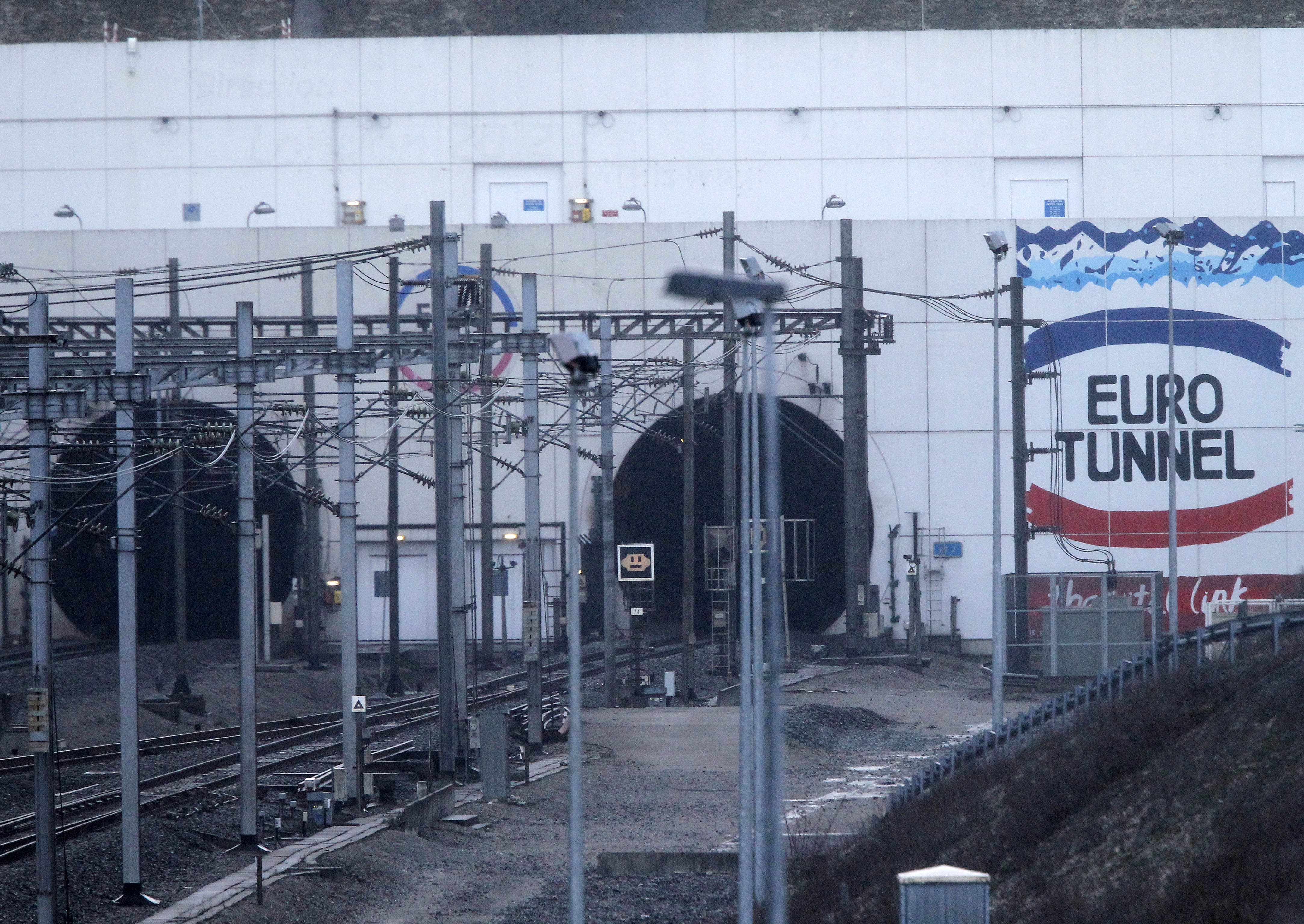 The entrance to the Channel Tunnel near Calais. in Coquelles on Jan.17, 2015.