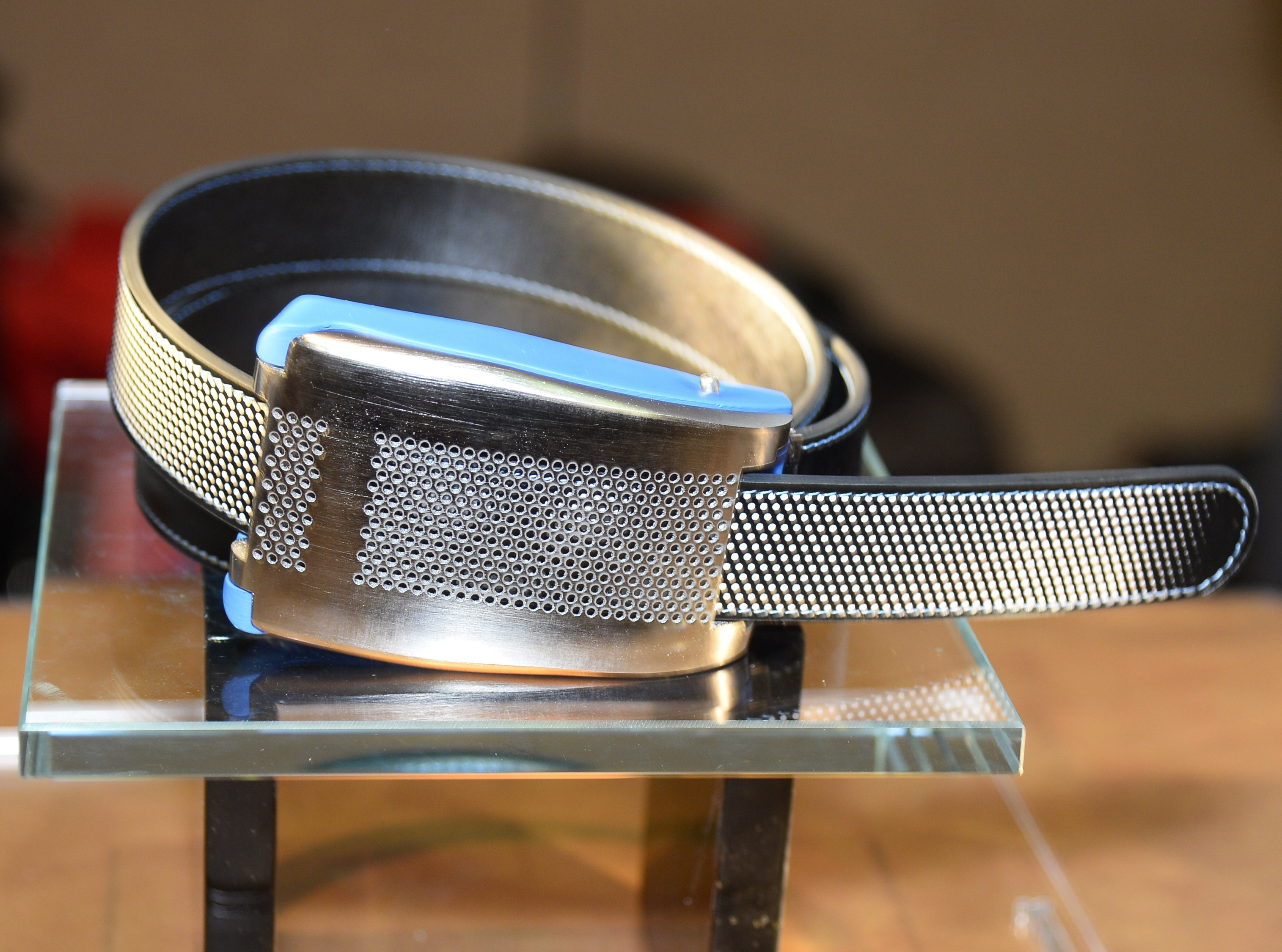 Belty, a smart belt from Paris-based Emiota, is displayed at the 2015 Consumer Electronics Show on Jan. 4, 2015 in Las Vegas, Nevada.