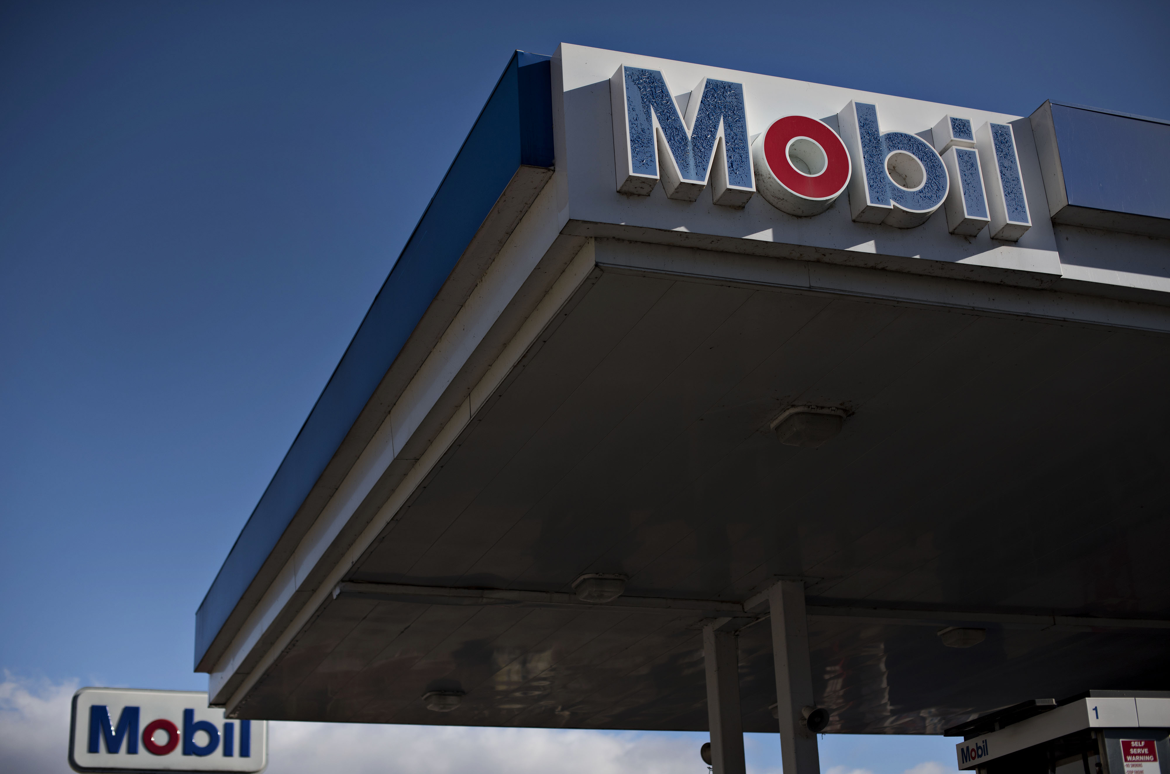 A Mobil gas station in Peoria, Illinois, on Oct. 29, 2014.