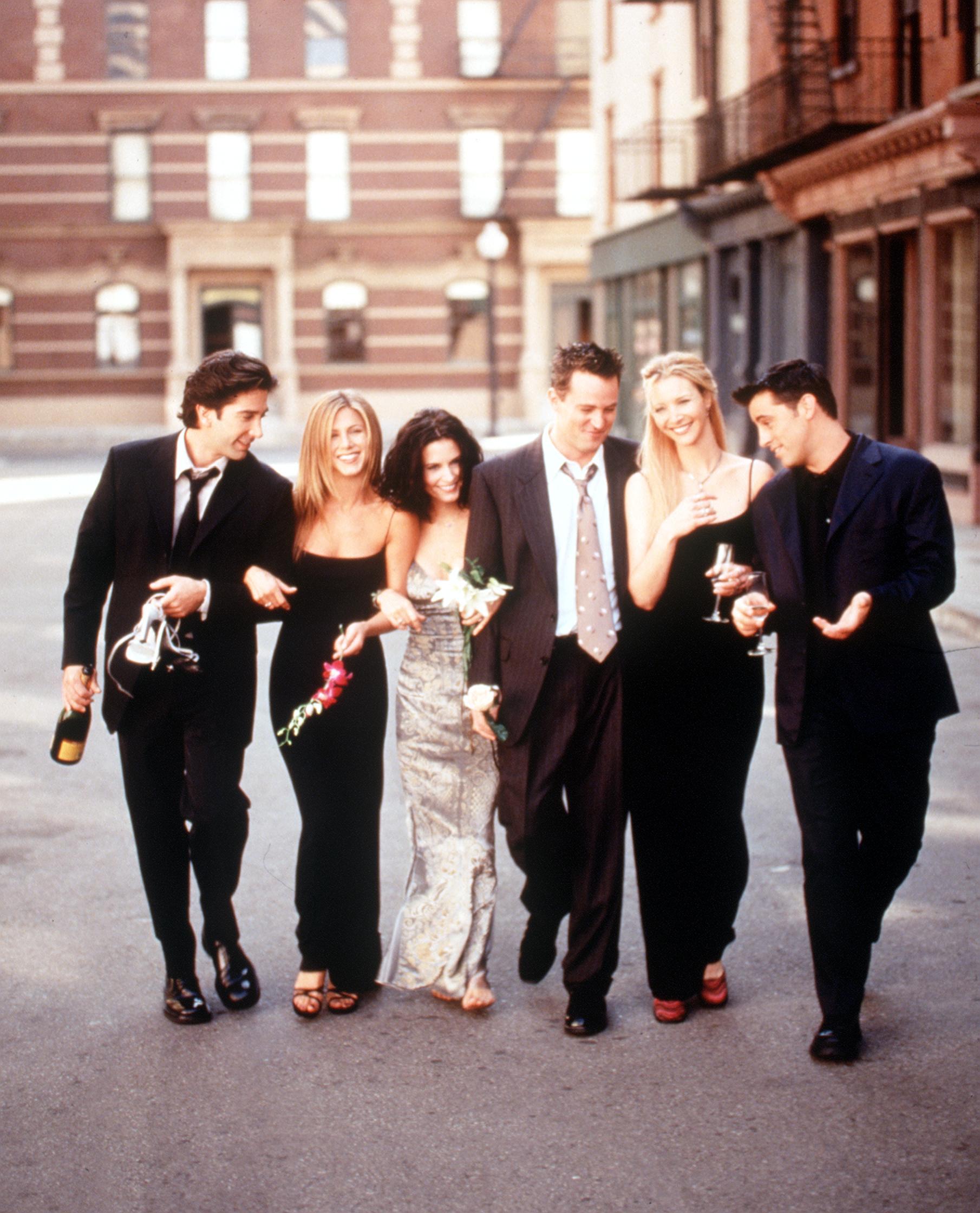 The cast of Friends. From left: David Schwimmer, Jennifer Aniston, Courtney Cox, Matthew Perry, Lisa Kudrow and Matt Leblanc.