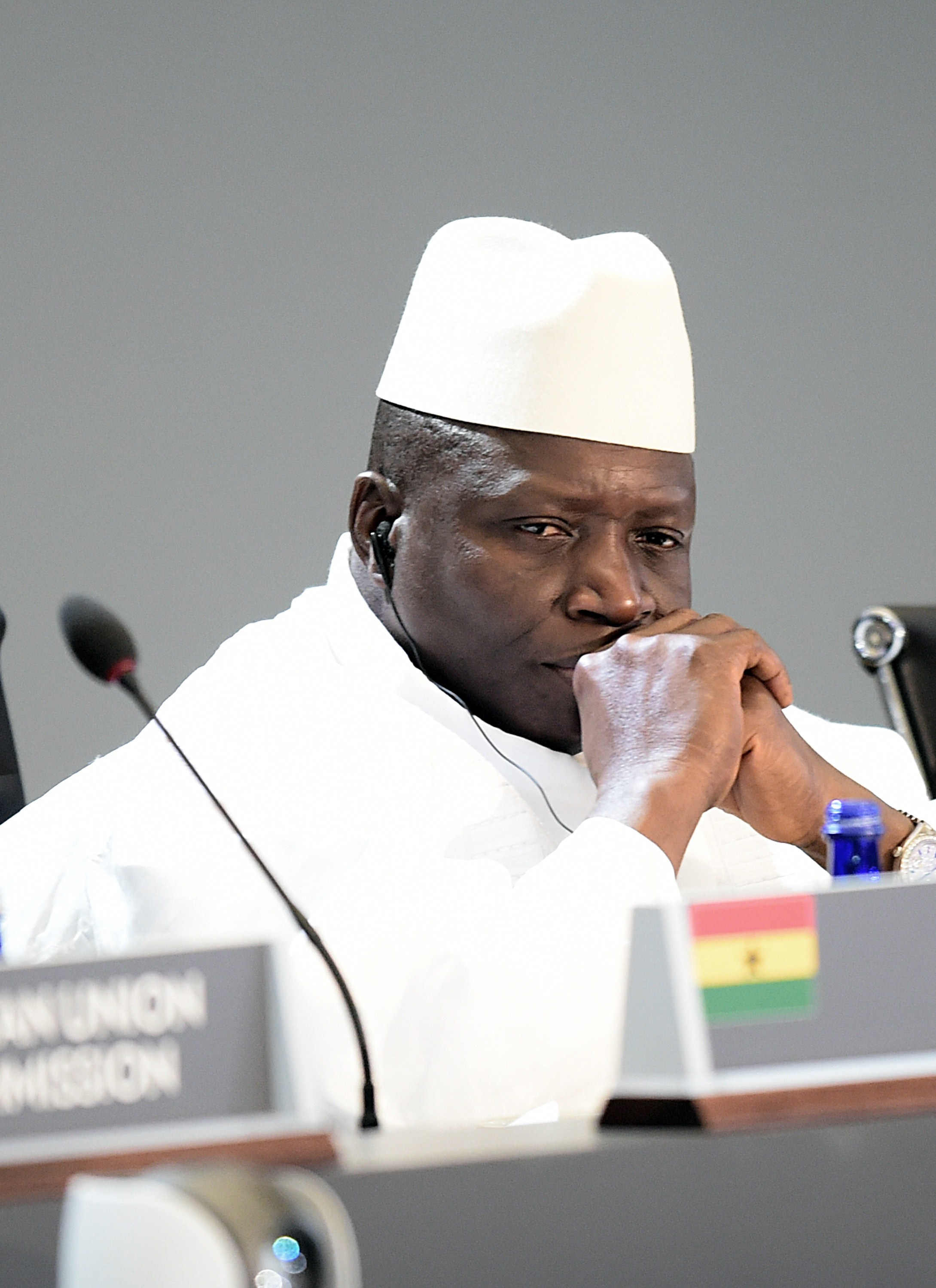 Gambia's President, Yahya Jammeh, attends the  Session 1- Investing in Africas Future  of the US-Africa Leaders Summit in Washington DC on Aug. 6, 2014.