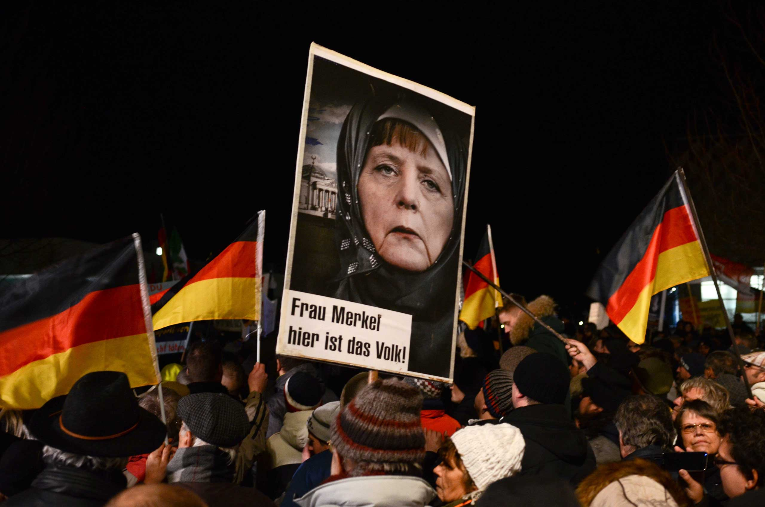 Thousands of PEGIDA (Patriotic Europeans Against the Islamization of the West) supporters march in Dresden, Germany on Jan. 12, 2014.