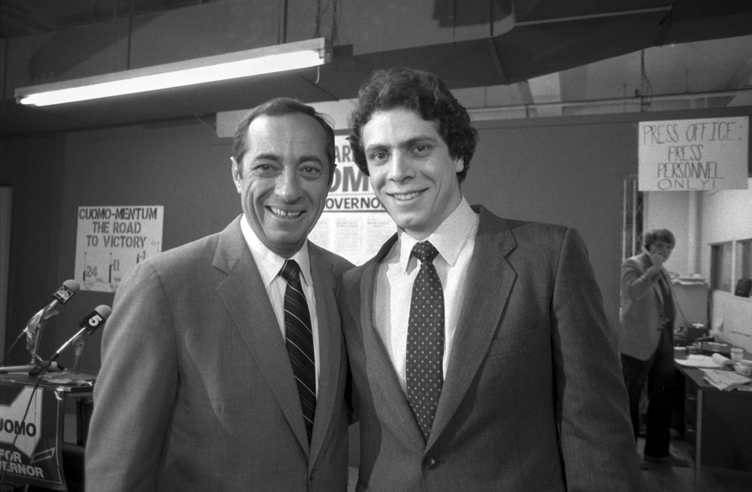 Andrew Cuomo, right, with Mario Cuomo, during his father's first campaign for governor of New York, Sept. 24, 1982.
