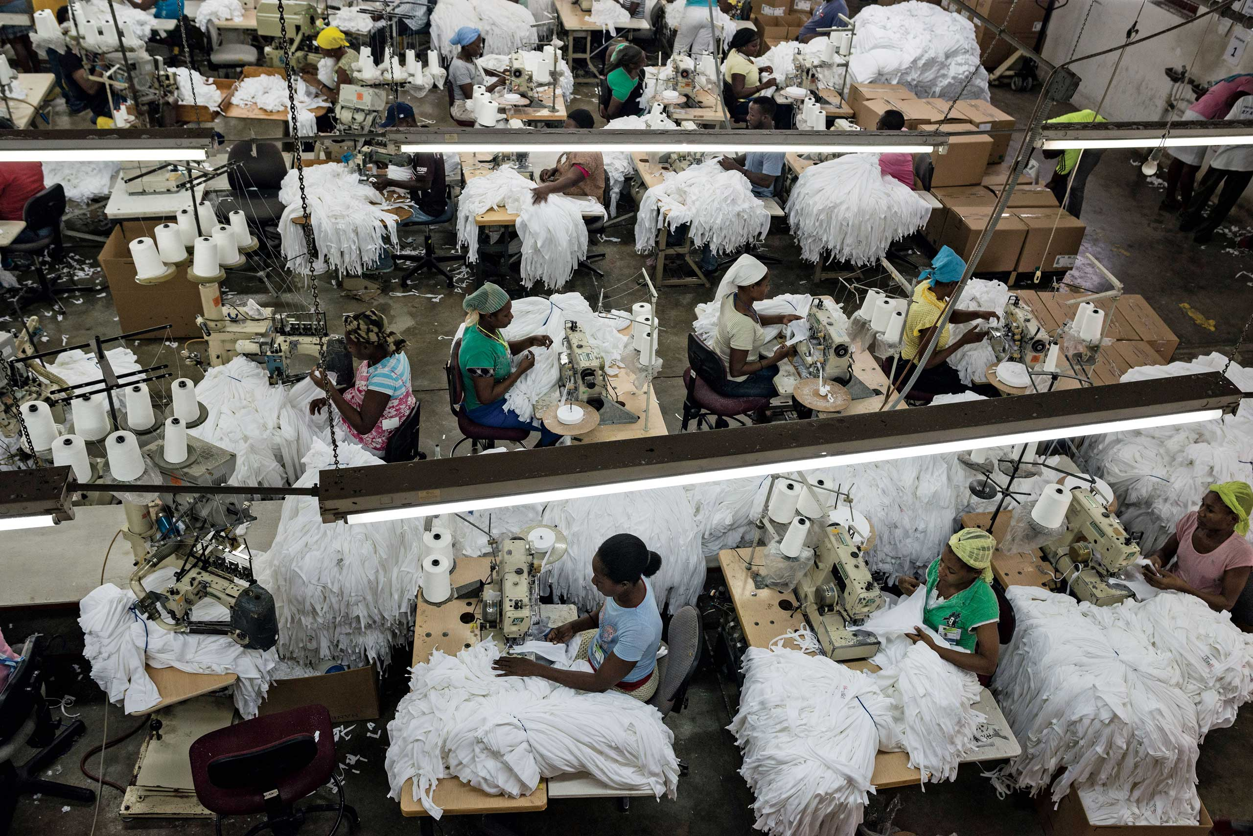 Bloomberg Businessweek: Rebuilding HaitiIn May 2010, the U.S. passed the Haiti Economic Lift Program (HELP) Act allowing duty-free imports of some Haitian goods, including textiles. The apparel sector accounts for 90 percent of exports, almost one-twentieth of Haiti's gross domestic product. Clothing imports from the country include Hanes T-shirts made by Multitex, a Haitian-owned factory.