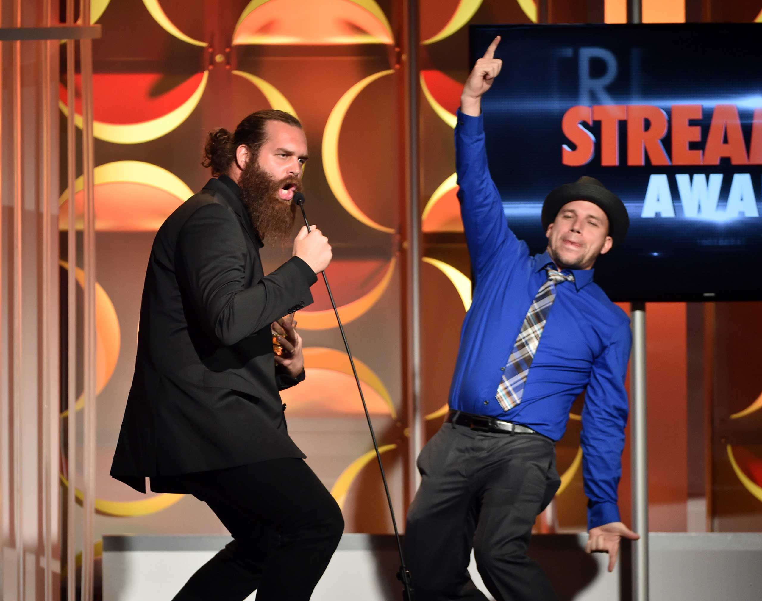 Internet personalities Harley Morenstein (L) and Lloyd Ahlquist speak at the 4th Annual Streamy Awards presented by Coca-Cola in Beverly Hills, Calif. on Sept. 7, 2014.