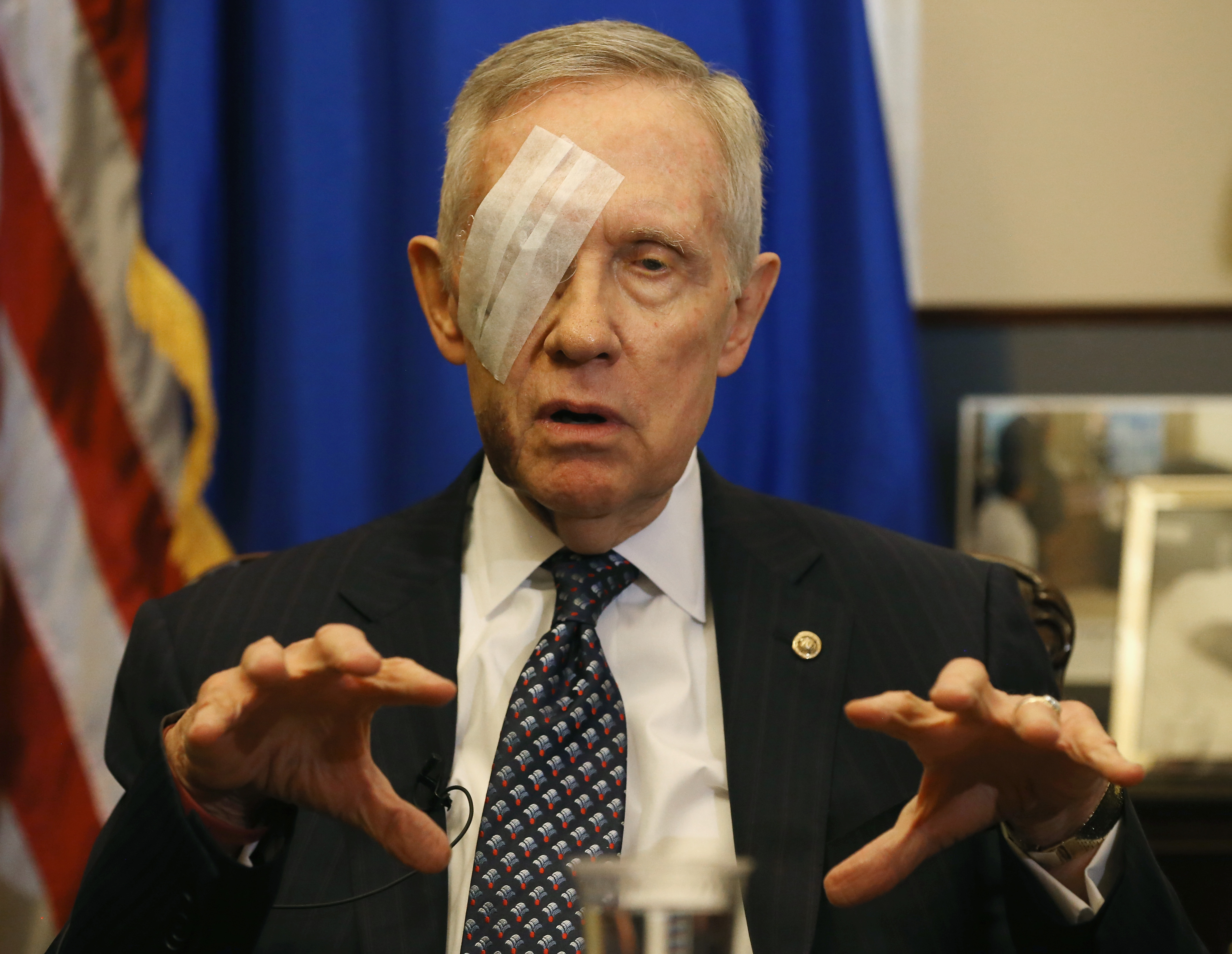 Senate Minority Leader Harry Reid (D-AZ) speaks during a pen and pad session with reporters at the US Capitol on Jan. 22, 2015 in Washington D.C.