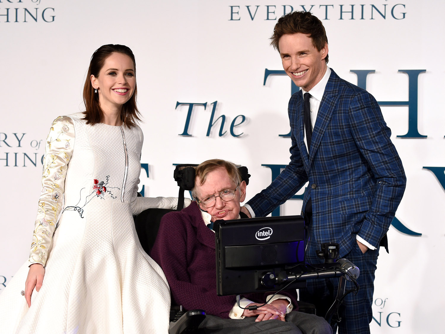 Felicity Jones, Professor Stephen Hawking and Eddie Redmayne attend the UK Premiere of  The Theory Of Everything  at Odeon Leicester Square on Dec. 9, 2014 in London, England.