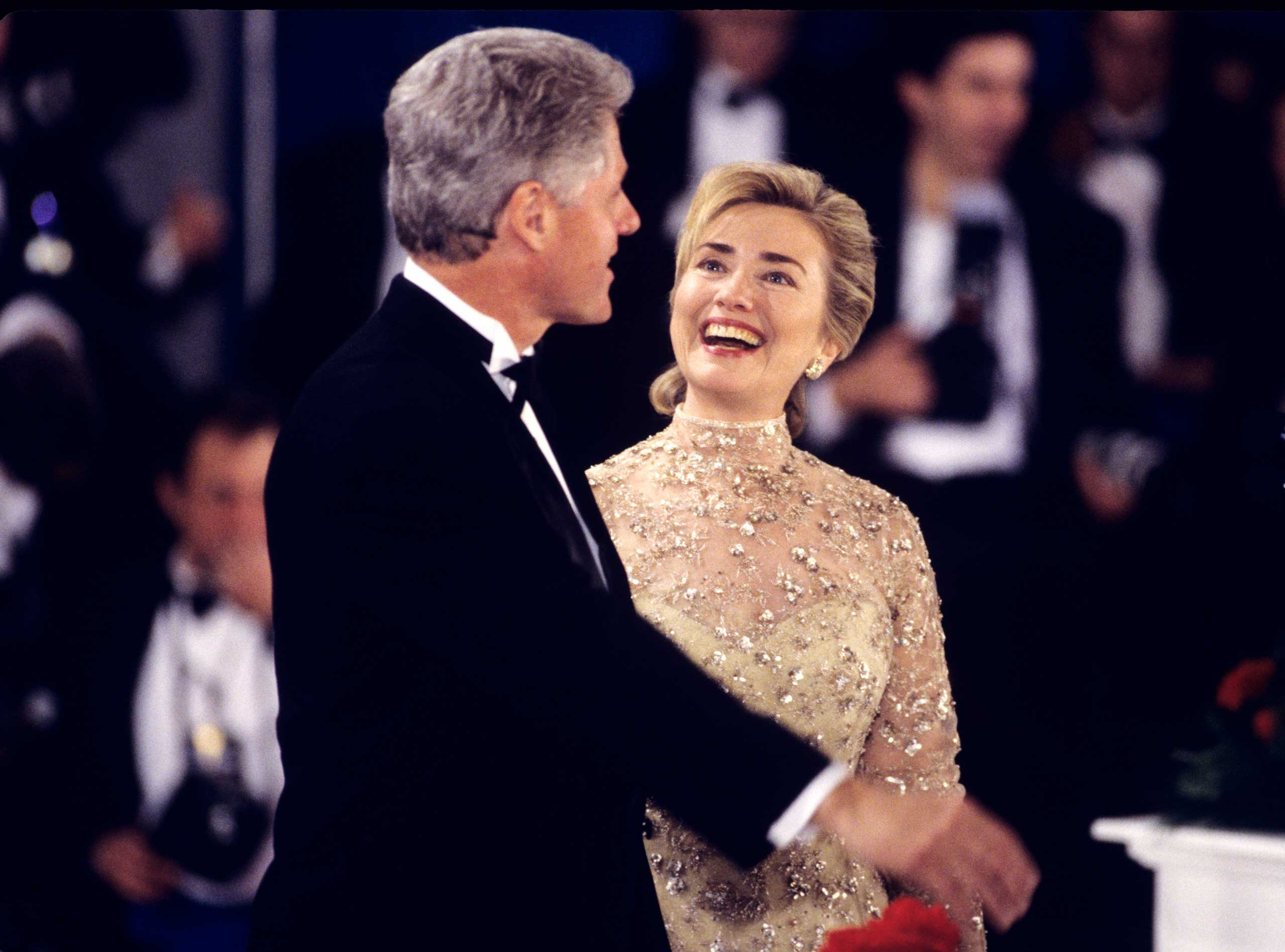 <b>Second-Term First Lady:</b> Clinton attends the Inaugural Ball after her husband was sworn in to a second term on Jan. 20, 1997.