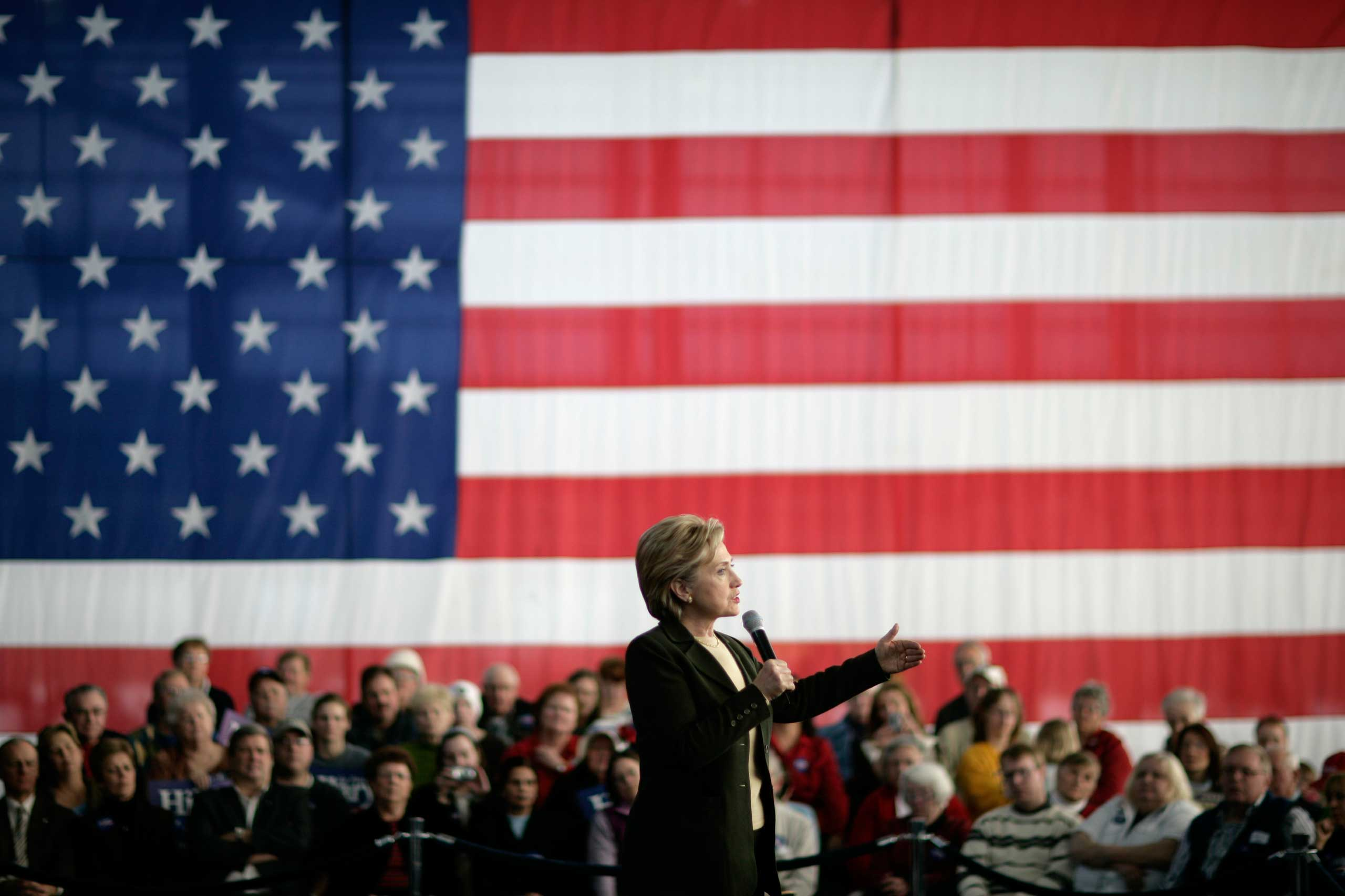 <b>Campaigner:</b> Clinton speaks at a campaign stop in Cedar Rapids, Iowa on Jan. 2, 2008.