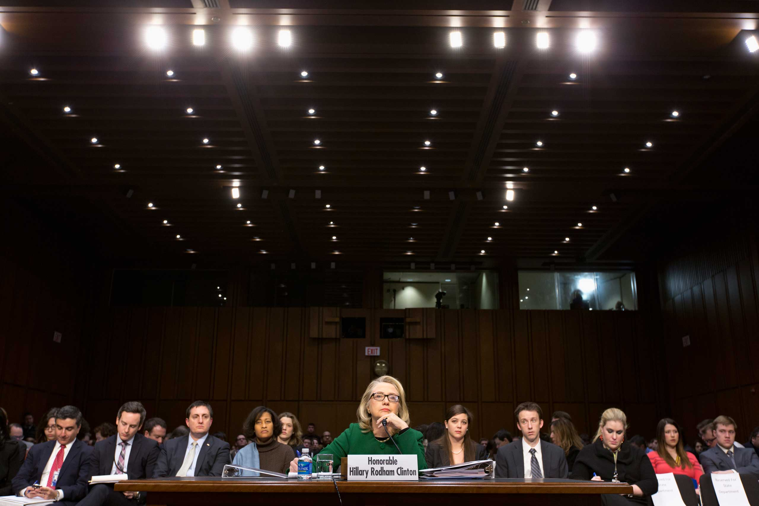 <b>Witness:</b> Clinton testifies before the Senate Foreign Relations Committee hearing on the deadly attack on the U.S. diplomatic mission in Benghazi, Libya, on Jan. 23, 2013.