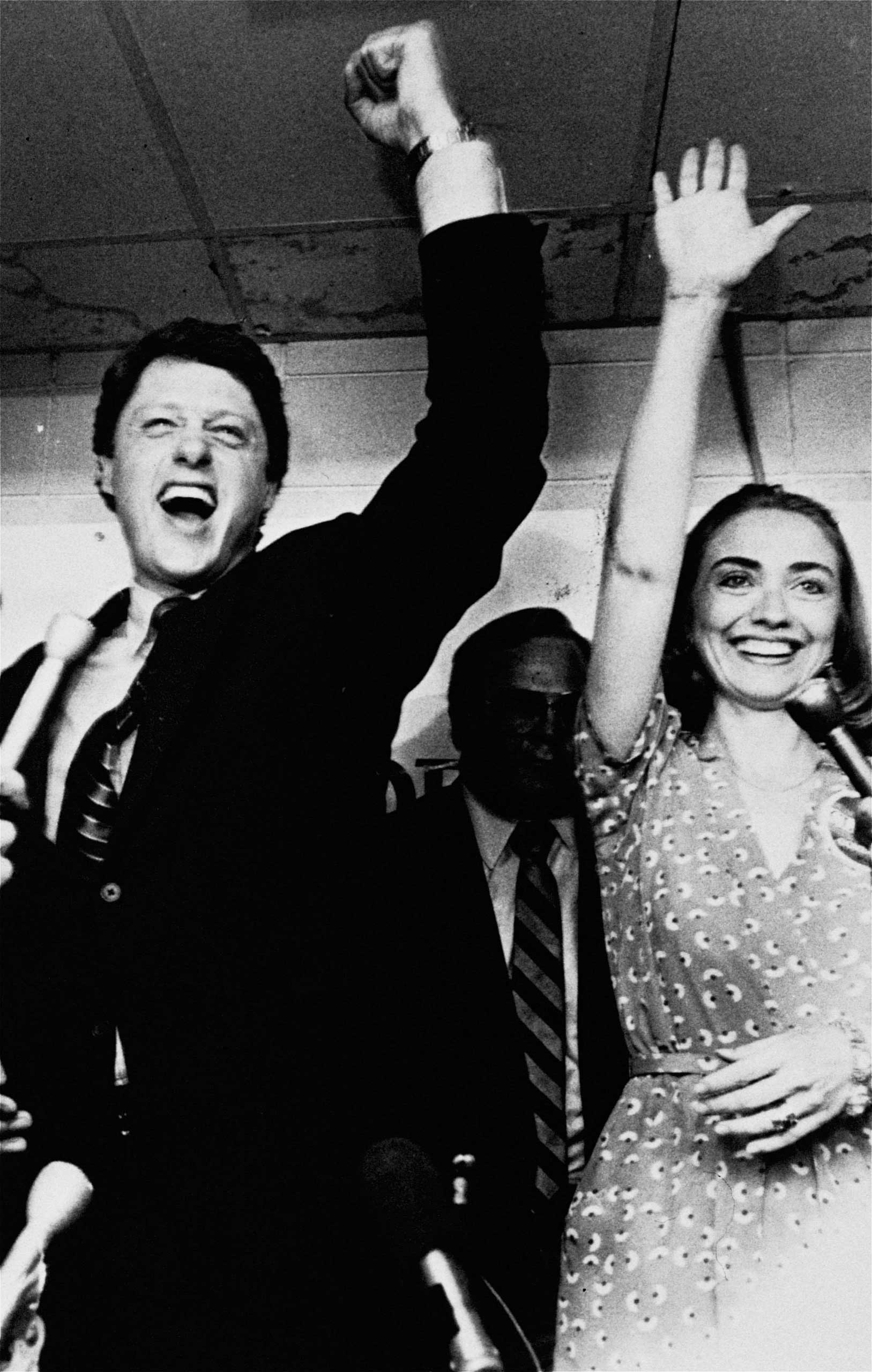 <b>Campaign Companion:</b> Clinton celebrates her husband's victory in a Democratic runoff in Little Rock, Ark. on June 8, 1982.