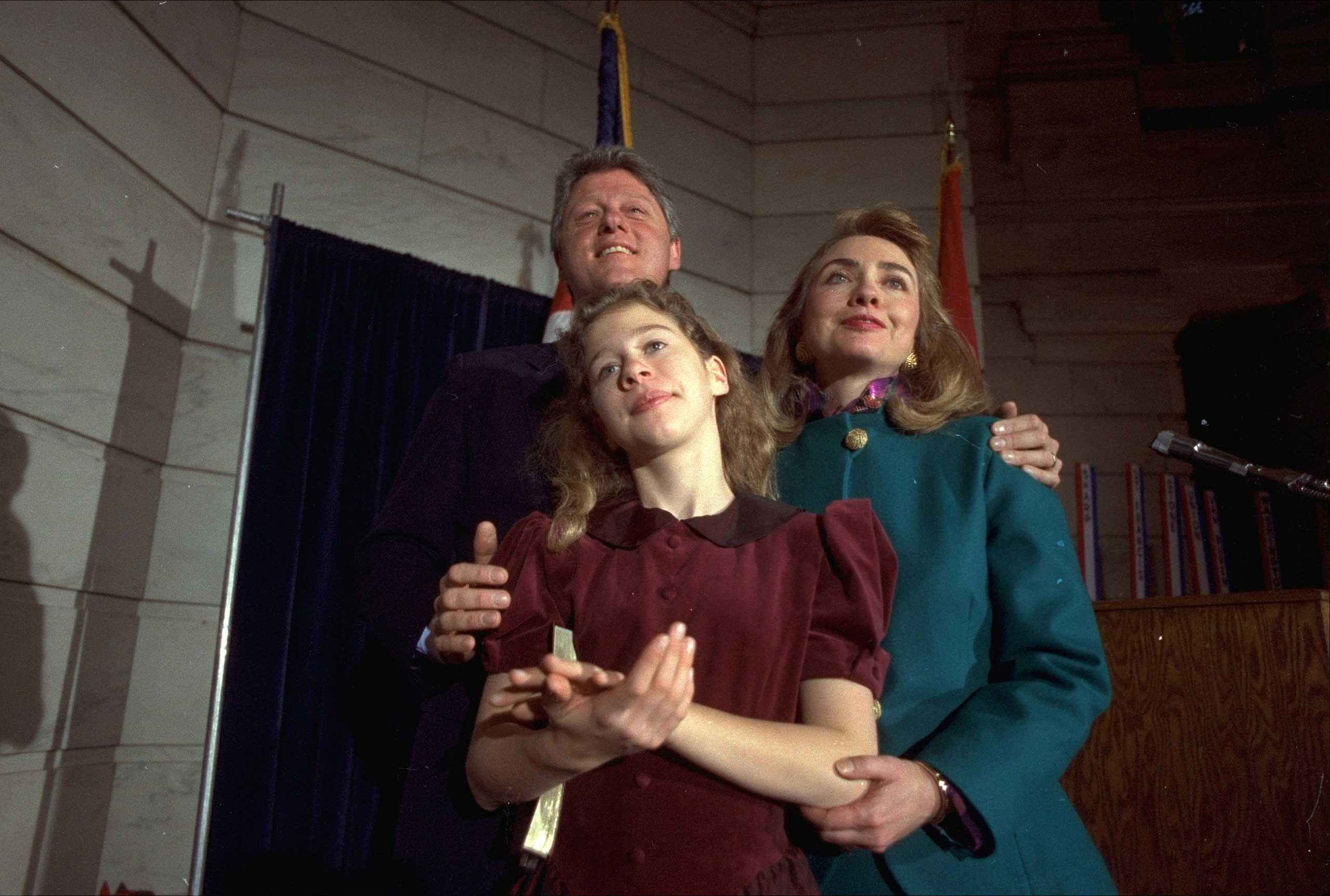 <b>Political Wife:</b> Clinton celebrates her husband's inauguration in Little Rock on Sept. 20, 1991.