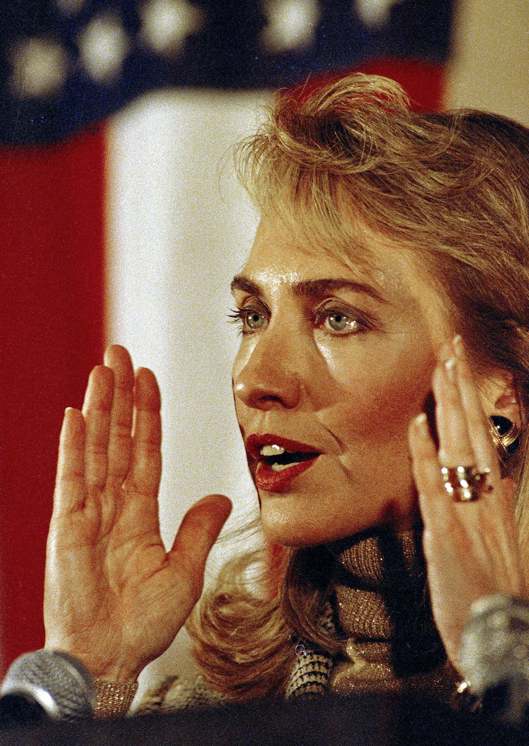 <b>Campaigner:</b> Clinton speaks at a meeting during the presidential campaign for her husband in Buffalo, N.Y., on April 4, 1992.