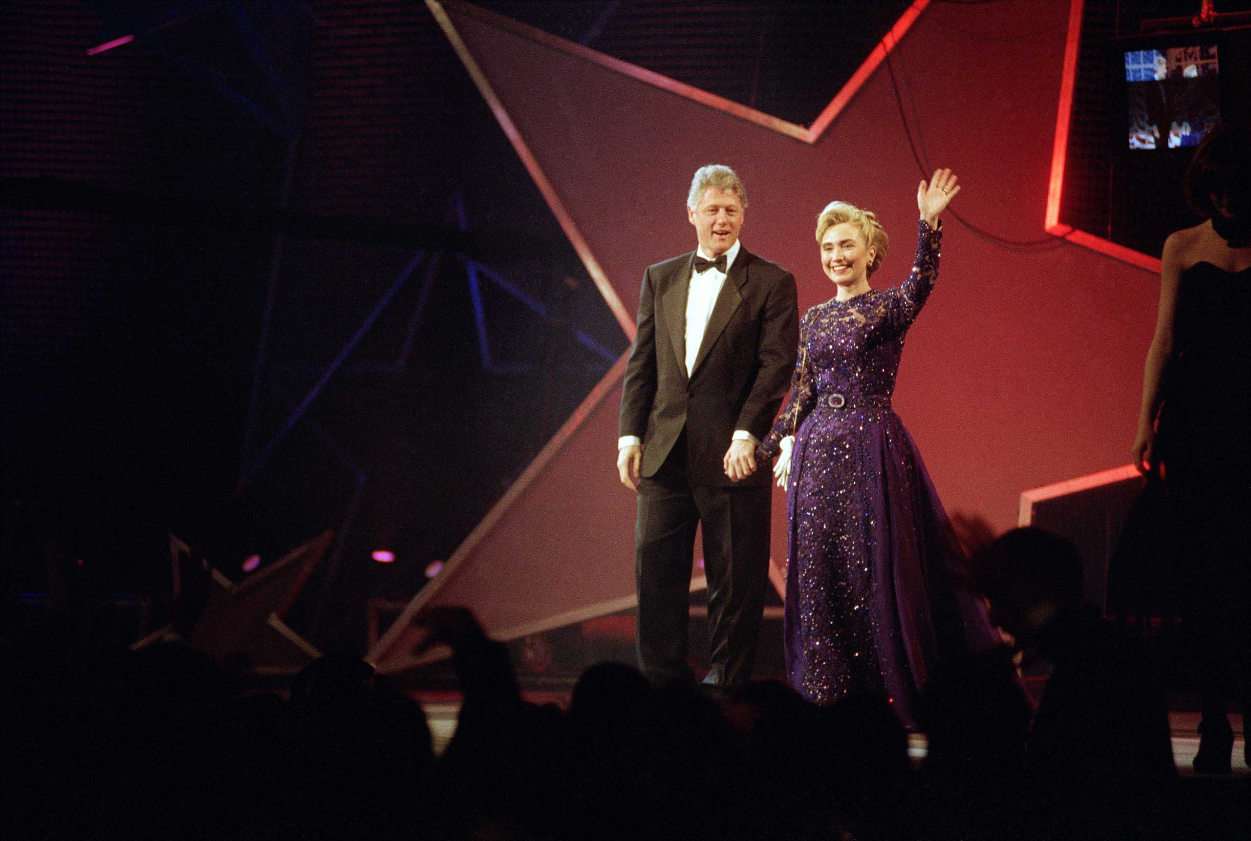 <b>First Lady:</b> Clinton appears at the MTV Inauguration Ball at the Washington Convention Center on Jan. 20, 1993.