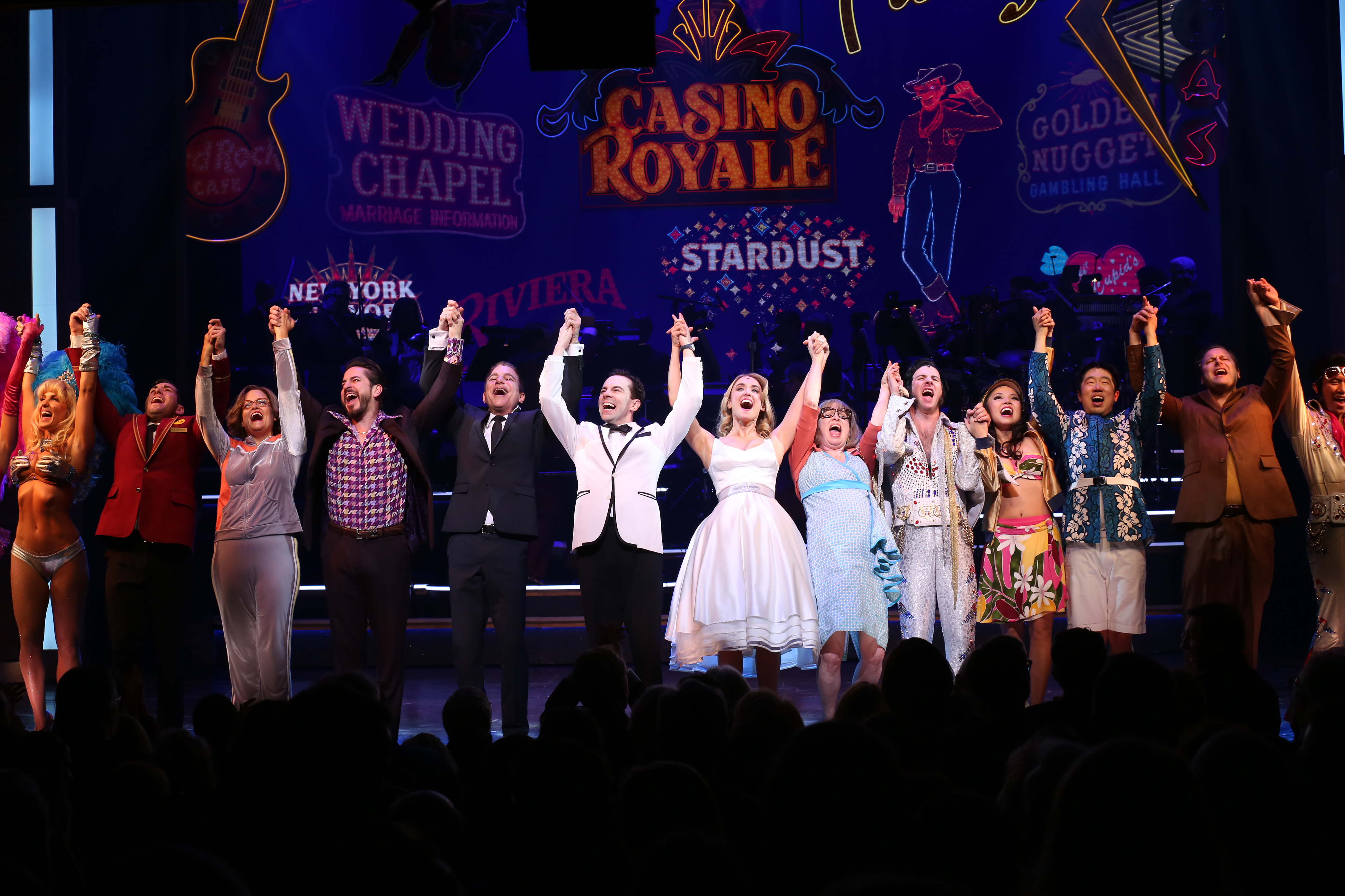 From left: Matthew Saldivar, Tony Danza, Rob McClure, Brynn O'Malley, Nancy Opel and David Josefsberg with the cast during the Broadway Opening Night Performance Curtain Call for Honeymoon in Vegas at the Nederlander Theatre on Jan. 15, 2014 in New York City.