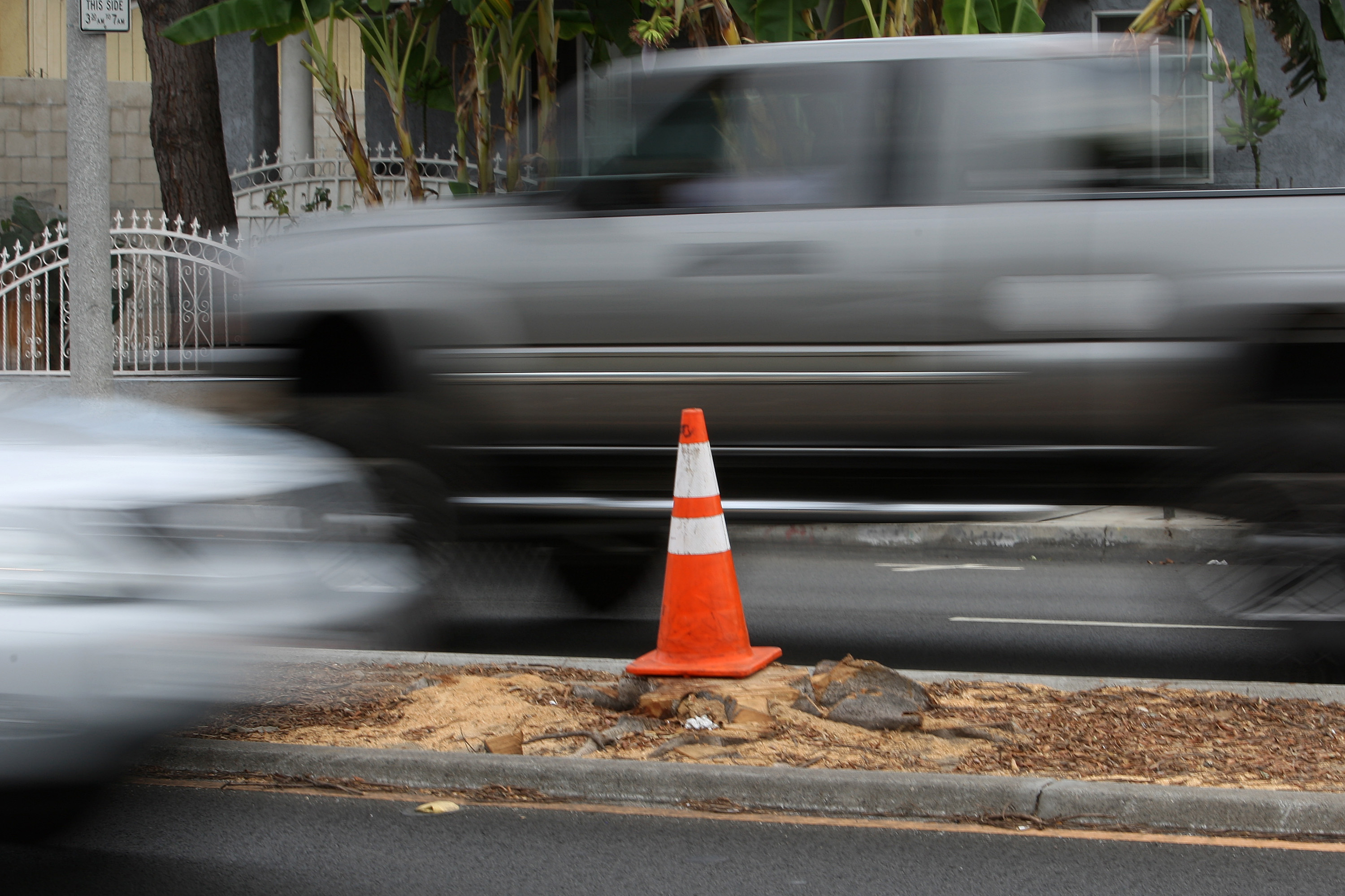 Cars pass along Manchester Boulevard on Sept. 5, 2012 in the Los Angeles-area community of Inglewood, California.