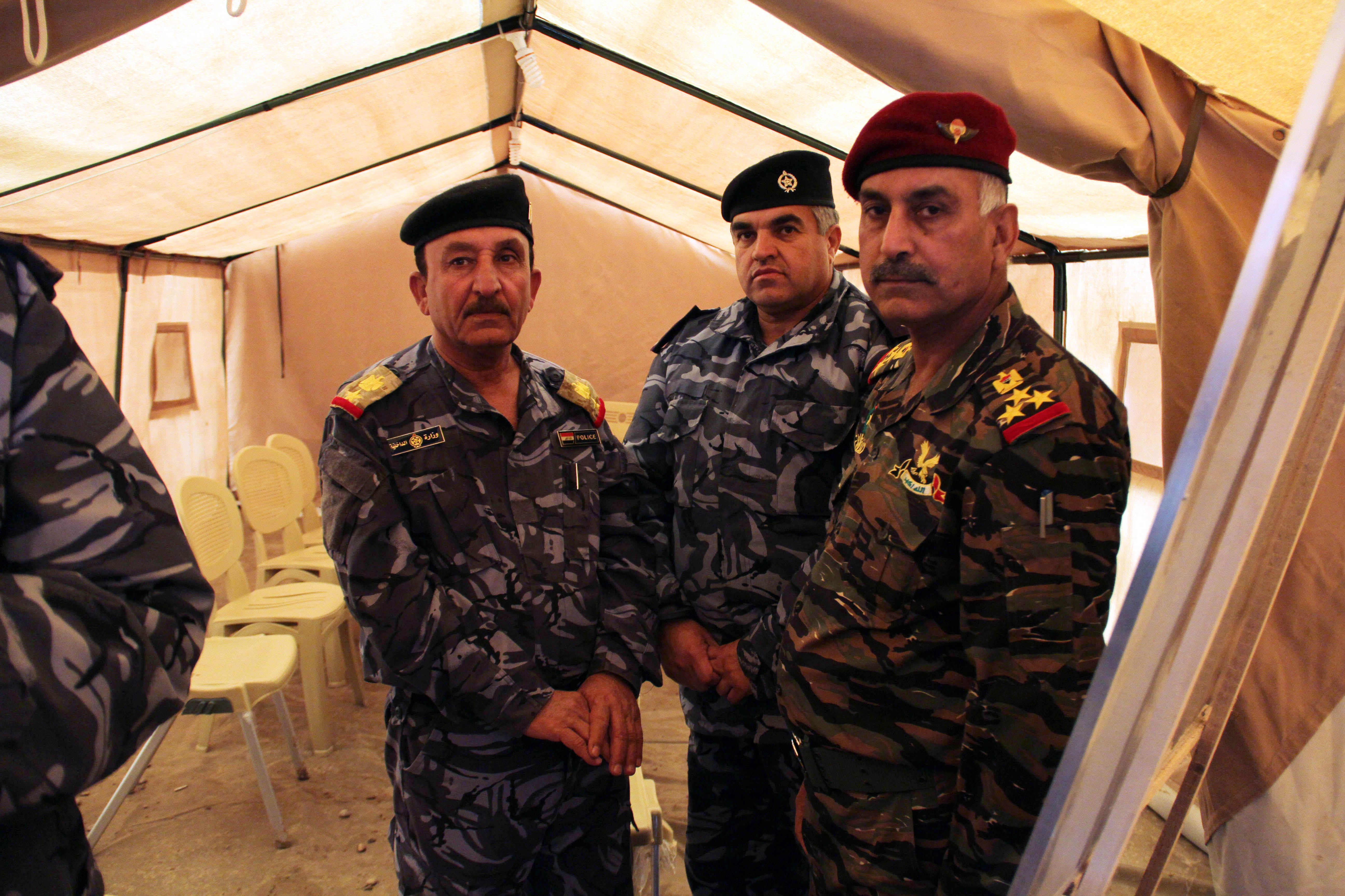 Moshir Al-Jabour (left) in a training camp for police from Mosul.