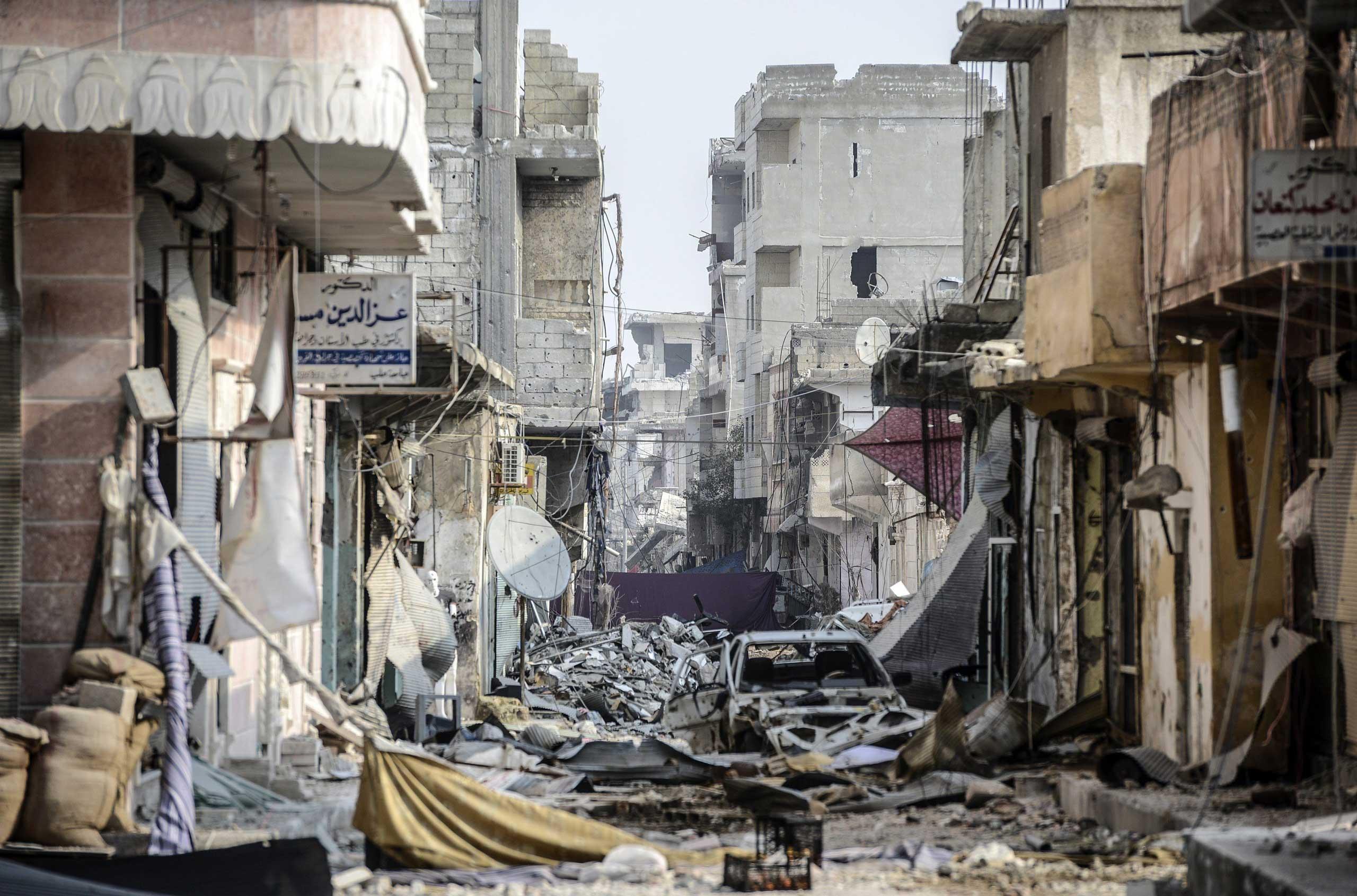 Street scene in Kobani on Jan. 28, 2015.