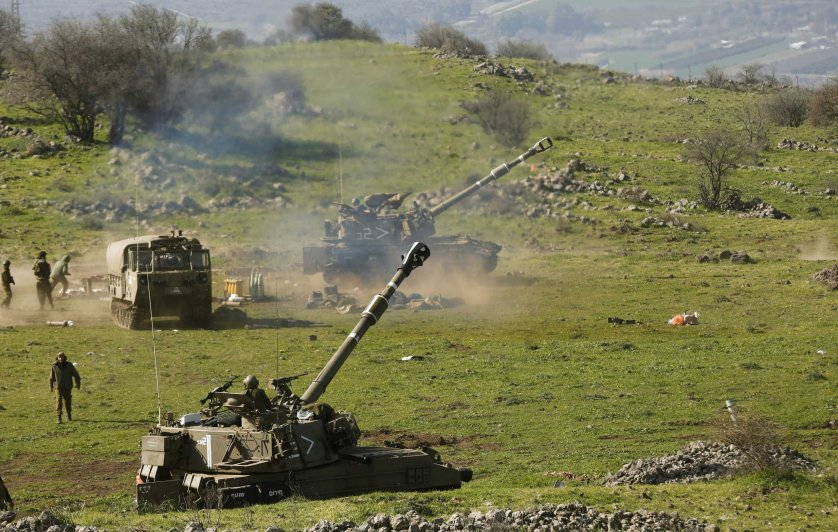 Israeli artillery fire toward targets in Lebanon near Har Dov area, on the Israeli-Lebanese border, Jan. 28, 2015.