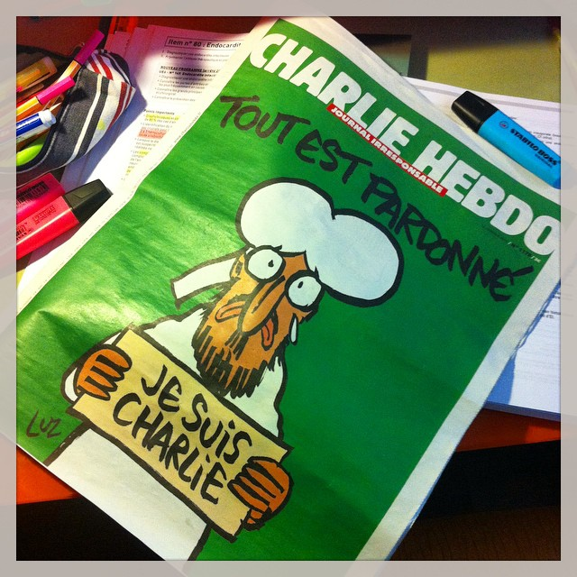 Marine Navarro posted this photo of the new issue of Charlie Hebdo.