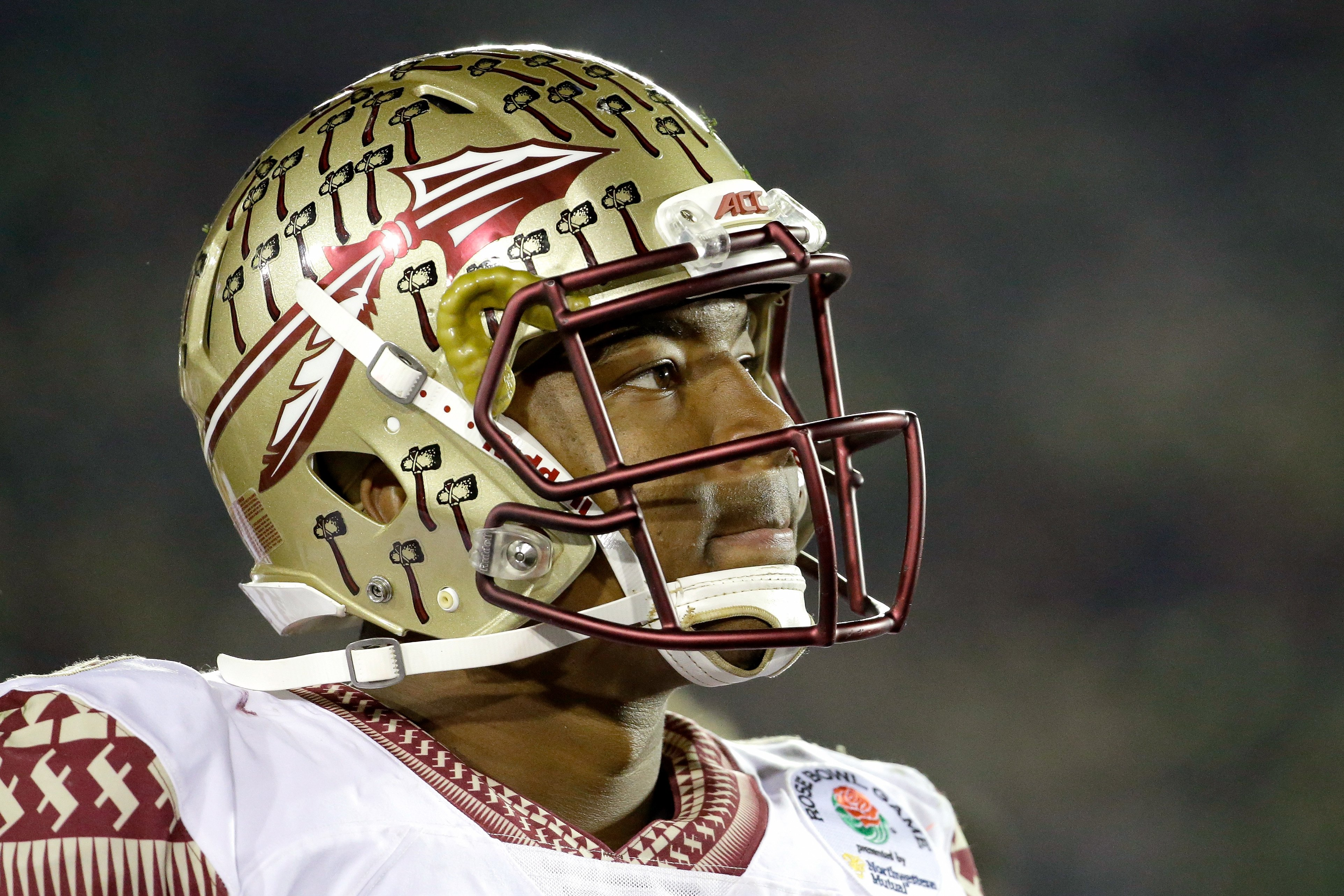 Quarterback Jameis Winston of the Florida State Seminoles looks on during the College Football Playoff Semifinal against the Oregon Ducks at the Rose Bowl Game presented by Northwestern Mutual at the Rose Bowl on Jan. 1, 2015 in Pasadena.