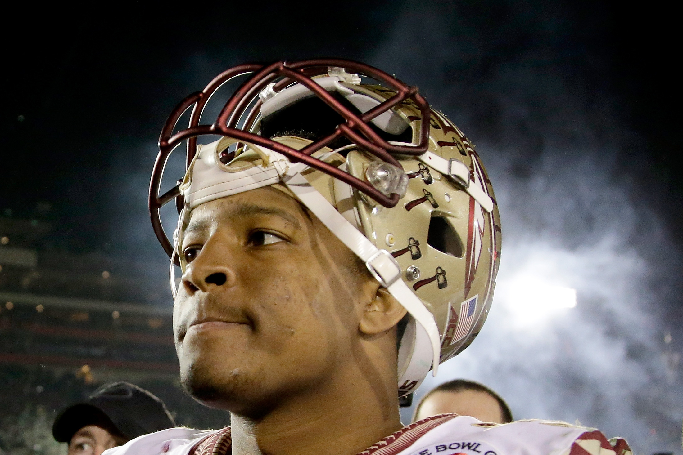 Quarterback Jameis Winston of the Florida State Seminoles reacts after losing 59-20 to the Oregon Ducks at the Rose Bowl on Jan. 1 in California.