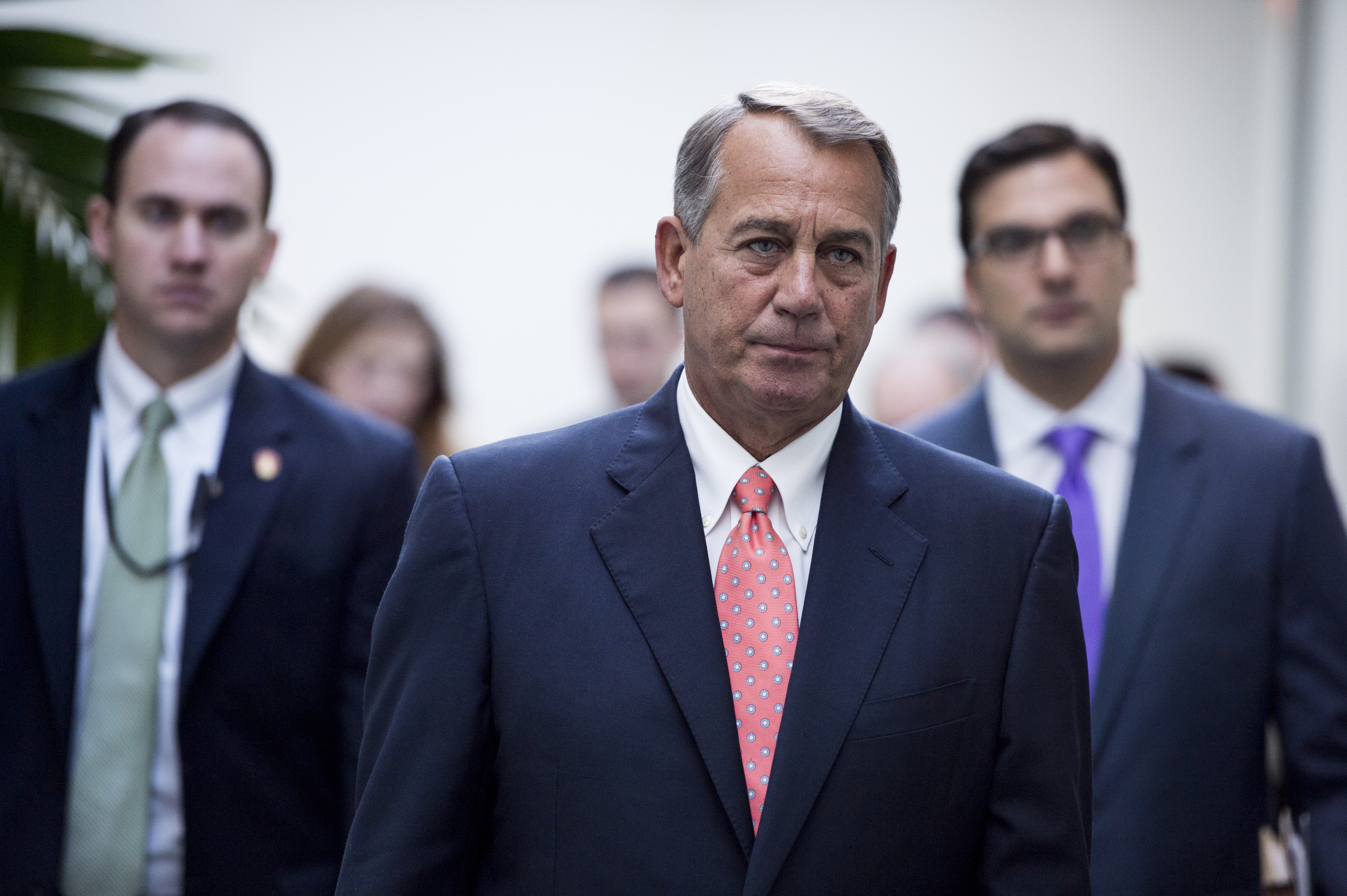 Speaker of the House John Boehner leaves the House Republican Conference meeting in the Capitol on Jan. 13, 2015.