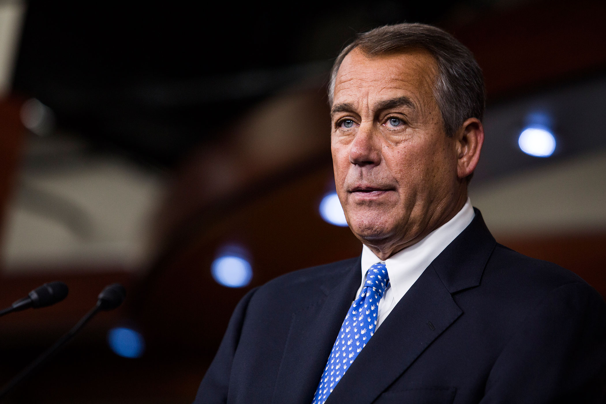Speaker of the House John Boehner takes questions during a news conference on Capitol Hill on Jan. 16, 2014 in Washington, DC.