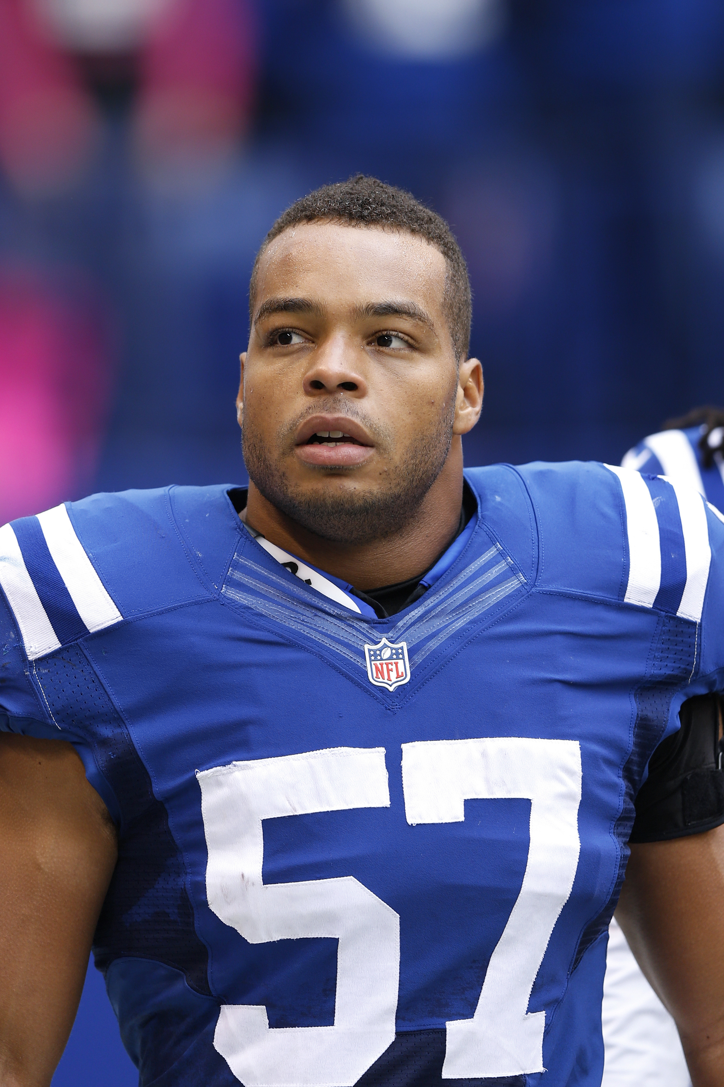 Josh McNary #57 of the Indianapolis Colts looks on against the Baltimore Ravens during the game at Lucas Oil Stadium on Oct. 5, 2014 in Indianapolis.