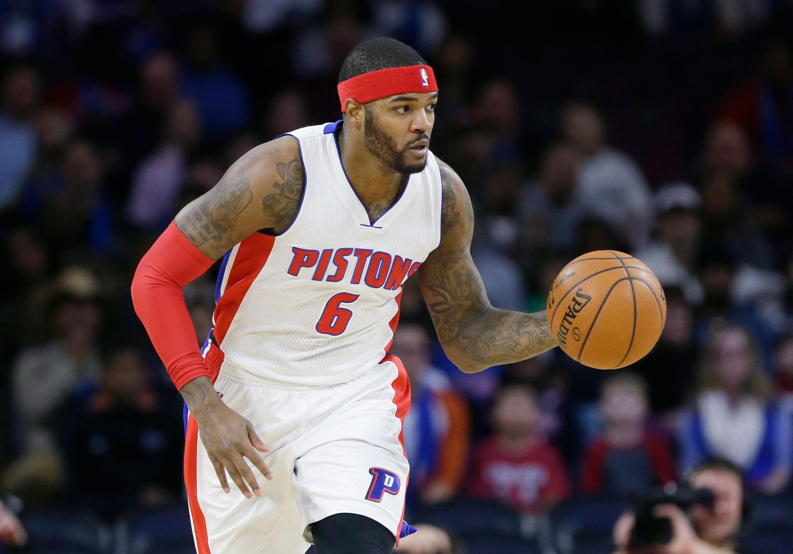 Former Detroit Pistons forward Josh Smith during the first half of an NBA basketball game against the Philadelphia 76ers in Auburn Hills, Mich., on Dec. 6, 2014.