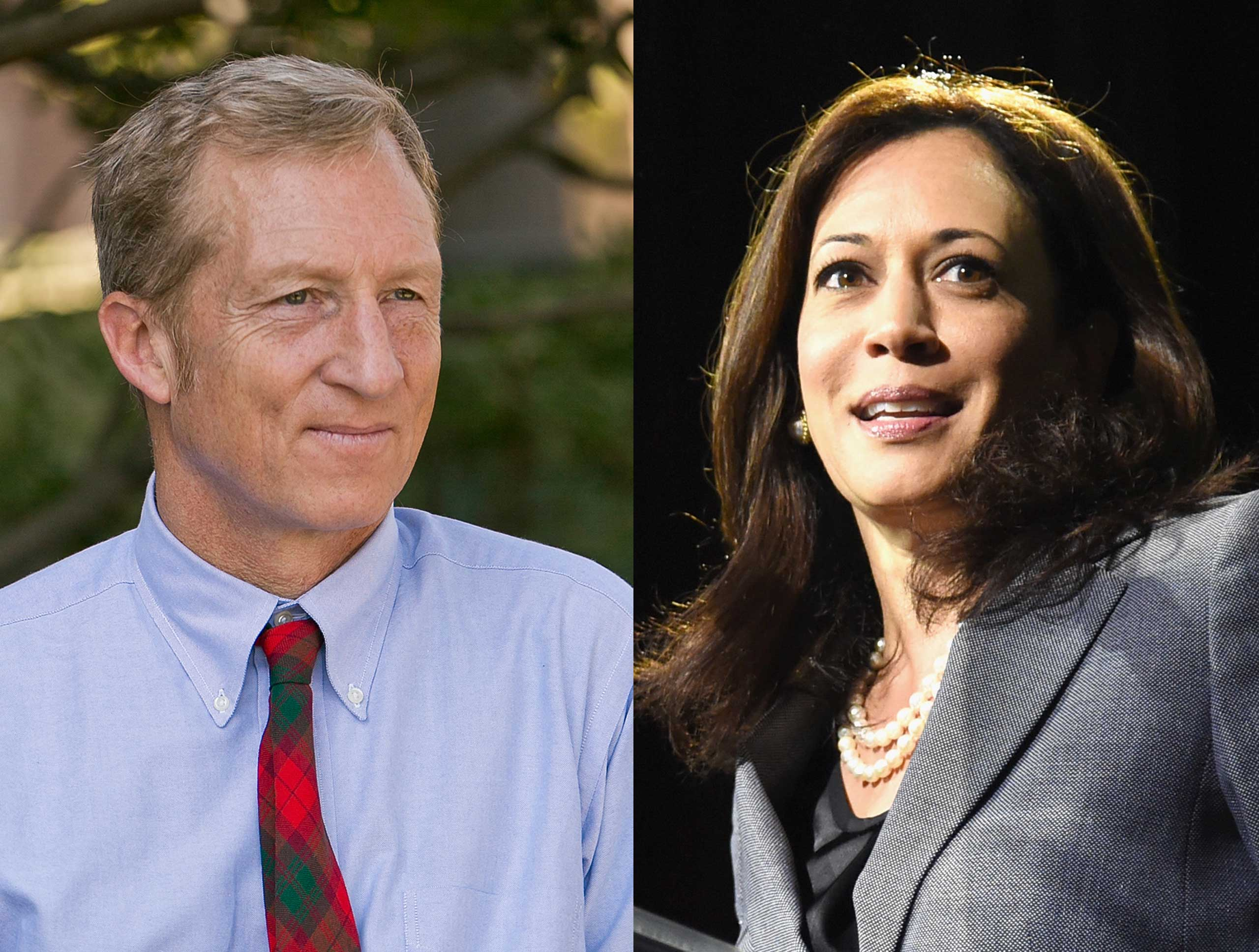 Left: Tom Steyer; Right: Kamala Harris