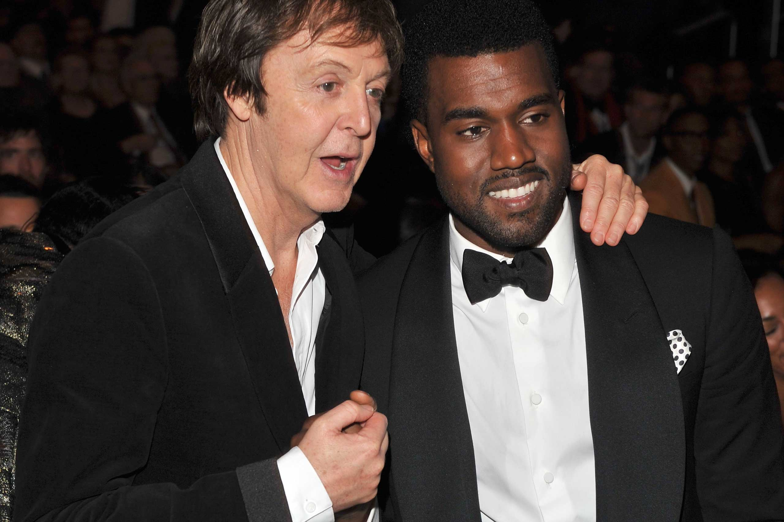 Musicians Paul McCartney and Kanye West together at the Grammy's in 2009.