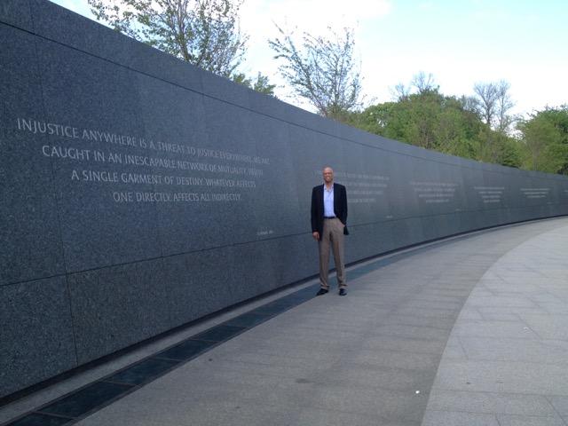 Kareem Abdul-Jabbar at the Martin Luther King, Jr. Memorial in Washington.
