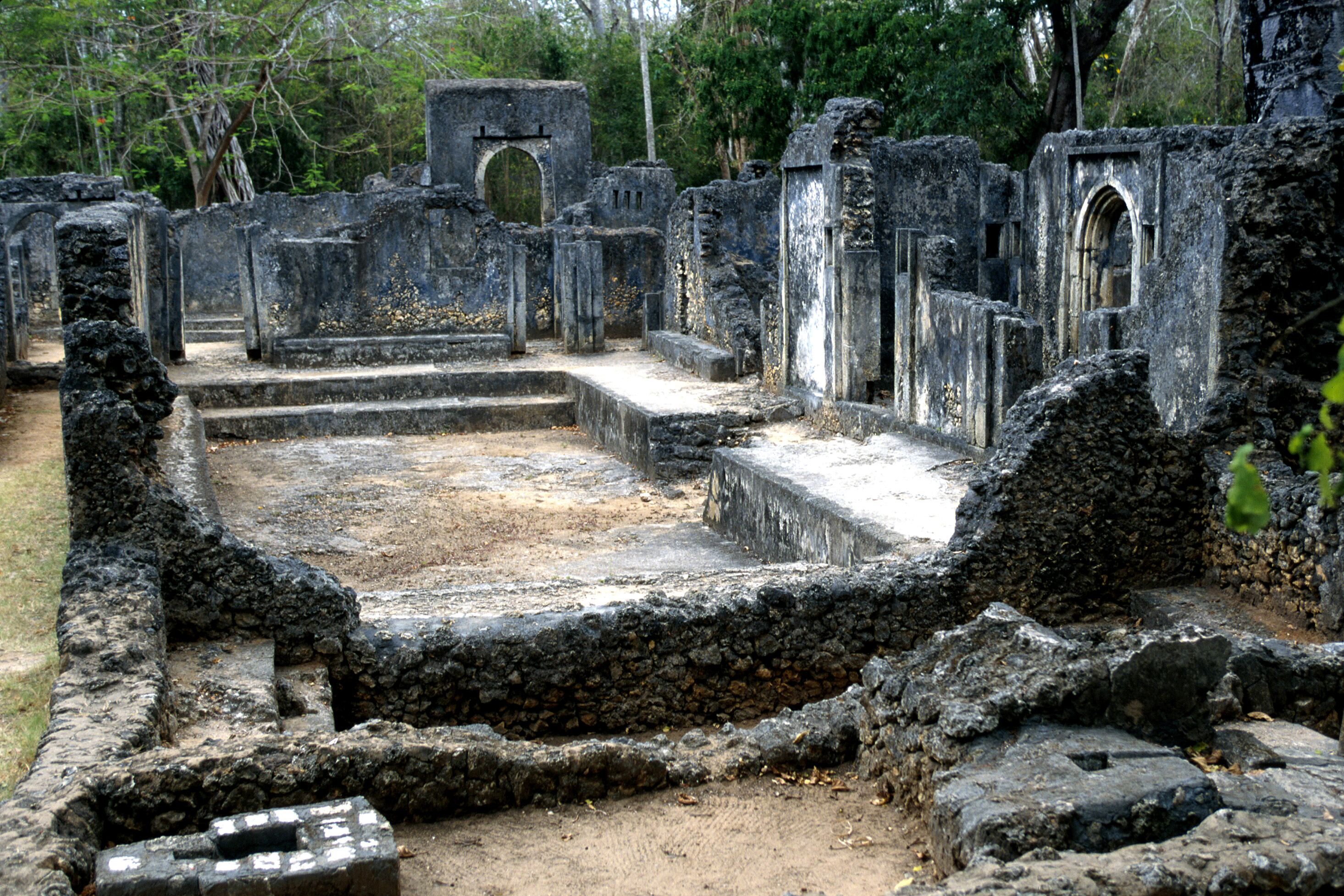 Architectural ruins at the Gedi Historical Monument in Kenya on June 13, 2012.