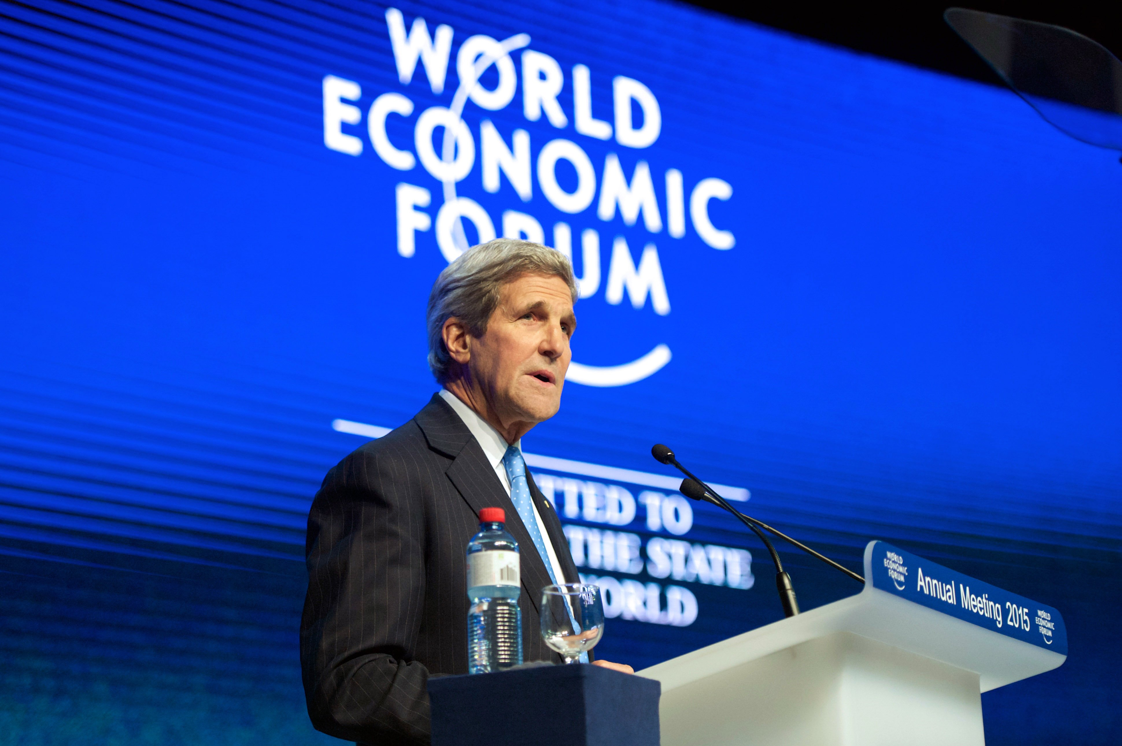 Secretary of State John Kerry delivers a speech about violent extremism to the audience at the World Economic Forum in Davos, Switzerland on Jan. 23, 2015.