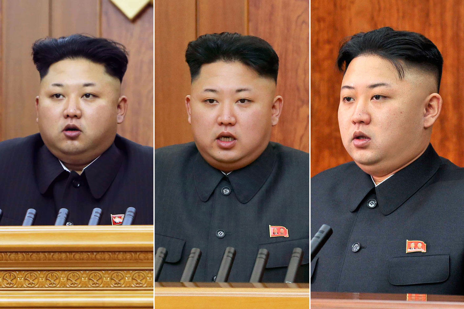 From left: Kim Jong Un delivers a New Year's address on Jan. 1, 2015, Jan. 1, 2014, and Jan. 1, 2013.
