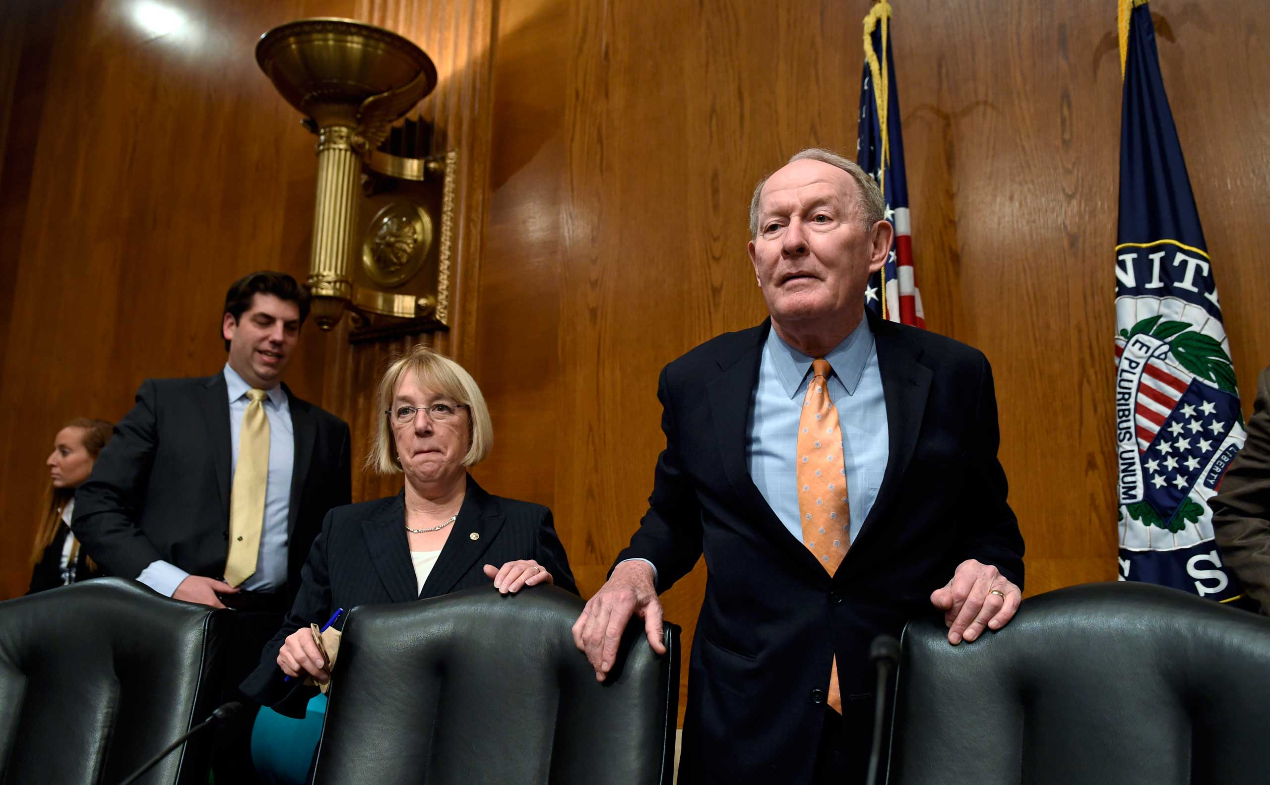 Senate Health, Education, Labor and Pensions Committee Chairman Sen. Lamar Alexander, R-Tenn., right, and the committee's ranking member Sen. Patty Murray, D-Wash., arrive on Capitol Hill in Washington, Wednesday, Jan. 21, 2015, for the committee's hearing looking at ways to fix the No Child Left Behind law.