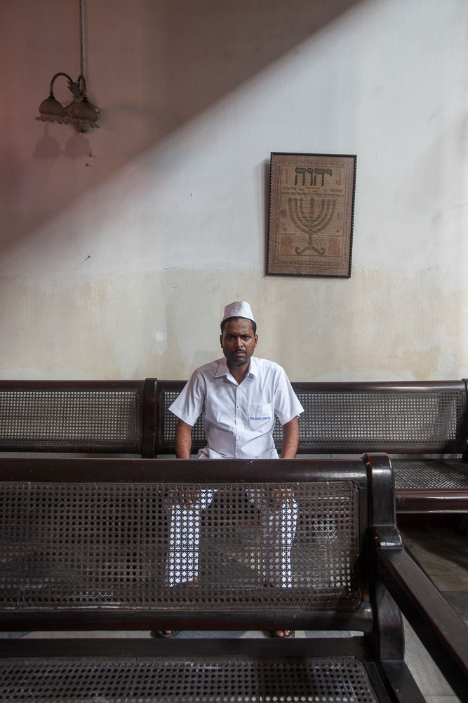 Nrusingha Charan Swain, 35, at Magen David Synagogue in August 2014. His father worked at the synagogue for 48 years until his passing.