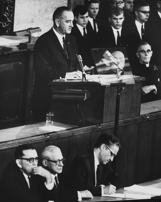 President Lyndon B. Johnson giving the State of the Union Address in 1965