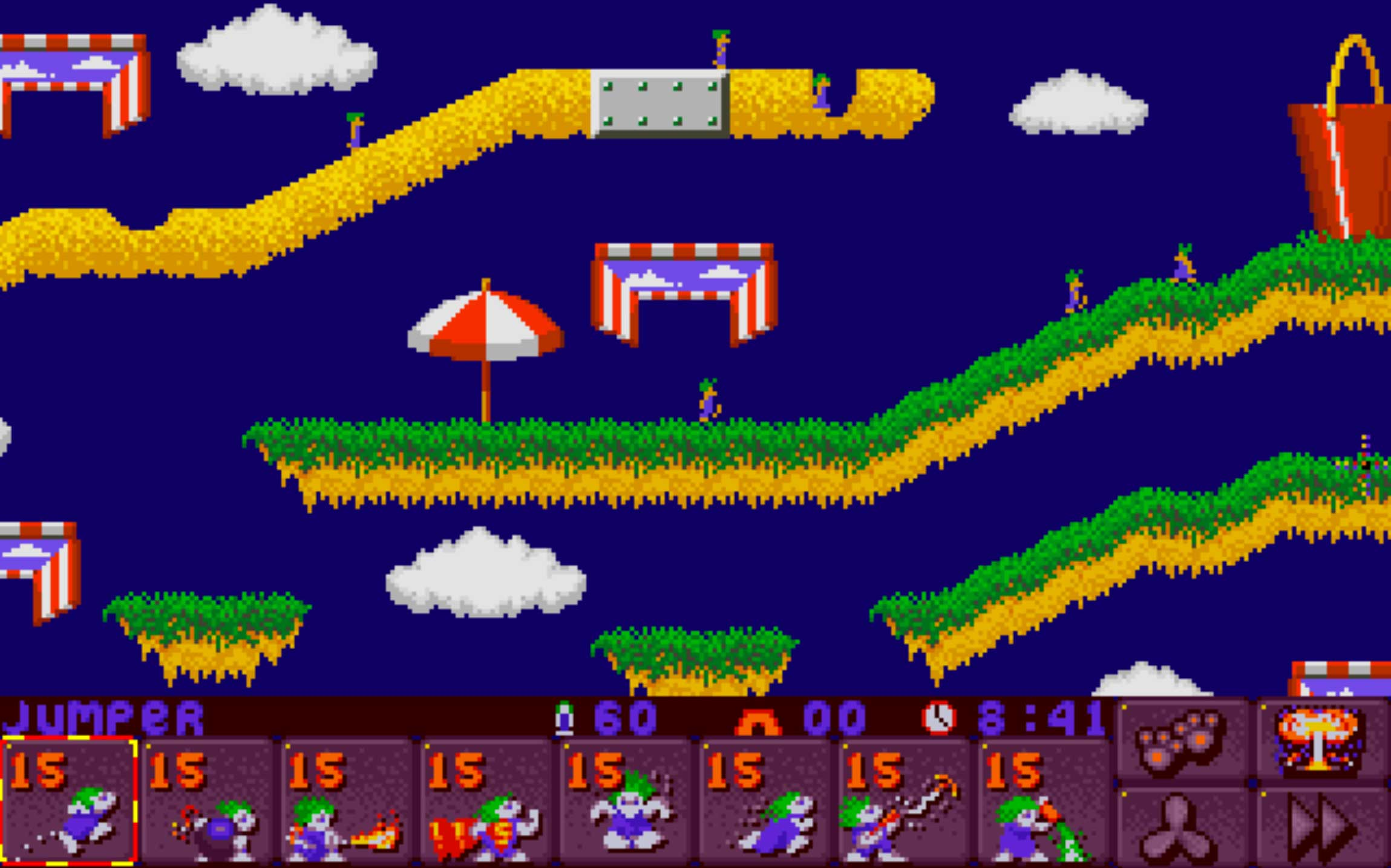 Lemmings 2 - The Tribes (1993)                                                               A cute puzzler, the object of this game is to lead the little rodents to safety, using lemmings' specialized digging, blasting, and building skills to navigate the landscape of each level.