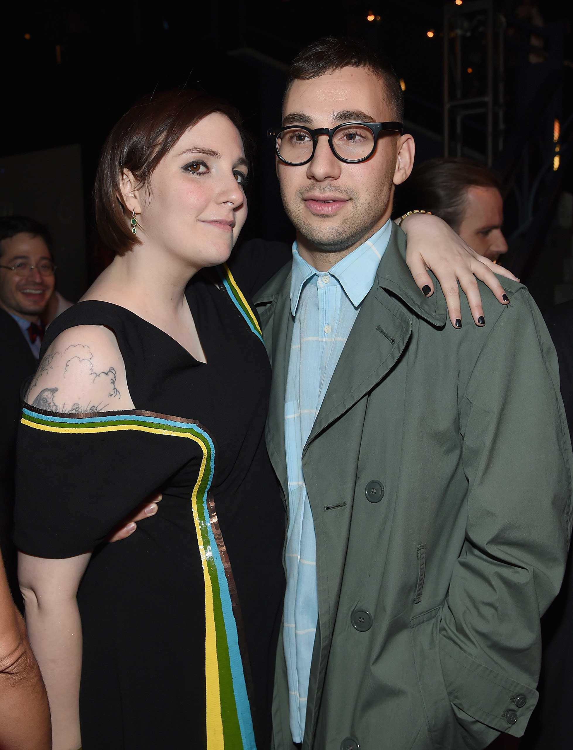 Lena Dunham and Jack Antonoff  attend the  Girls  season four series premiere after party at The Museum of Natural History in New York City on Jan. 5, 2015.