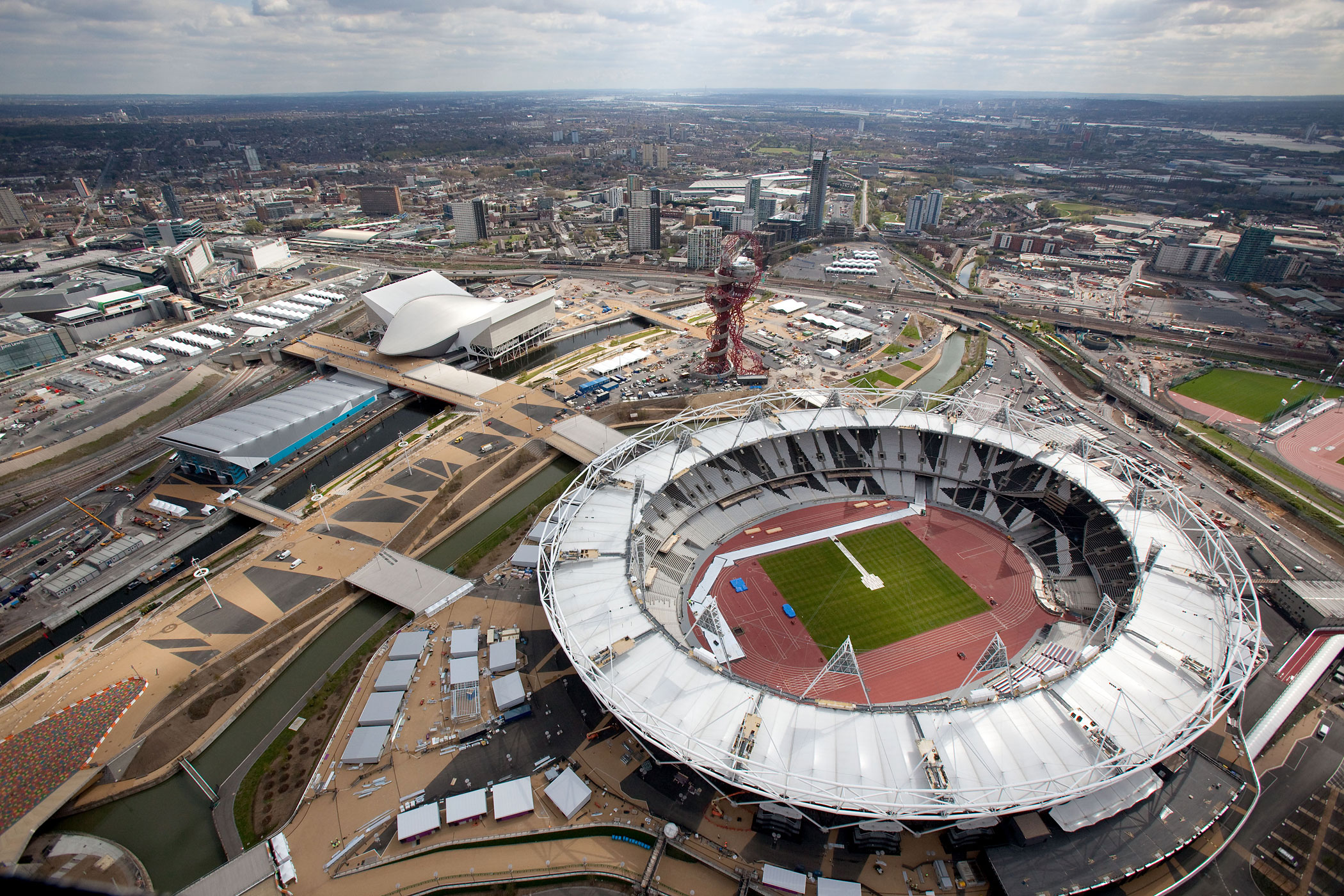 An aerial view of the Olympic Stadium, Aquatics Centre and Water Polo Centre in the London 2012 Olympic Park on April 16, 2012 in London, England.