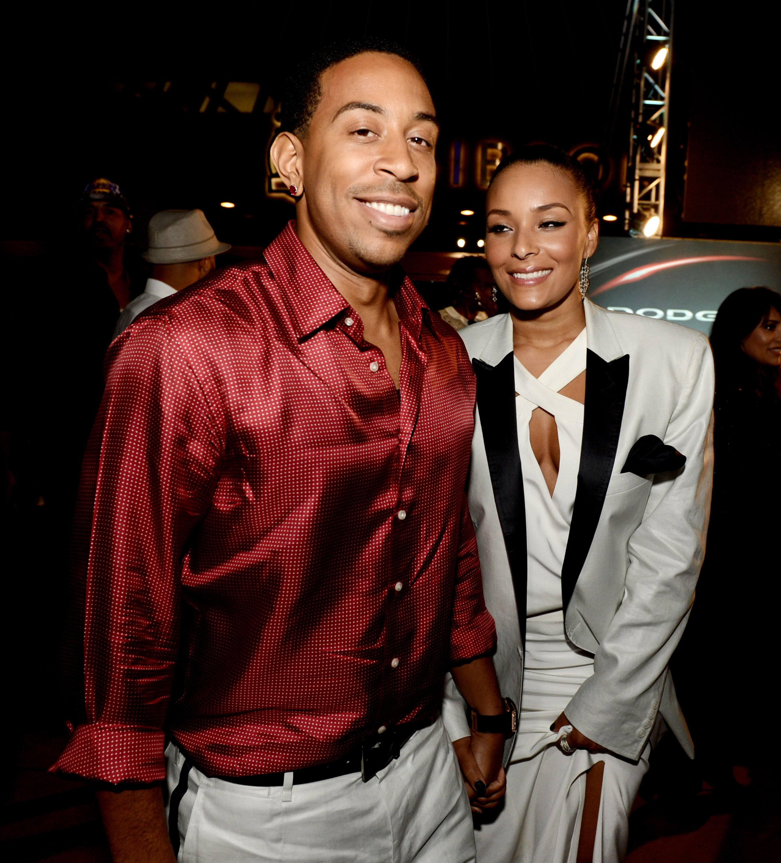 Actor/rapper Chris 'Ludacris' Bridges and his girlfriend Eudoxie arrive at the after party for the premiere of Universal Pictures'  Fast & Furious 6  at the Gibson Amphitheatre on May 21, 2013 in Universal City, California.