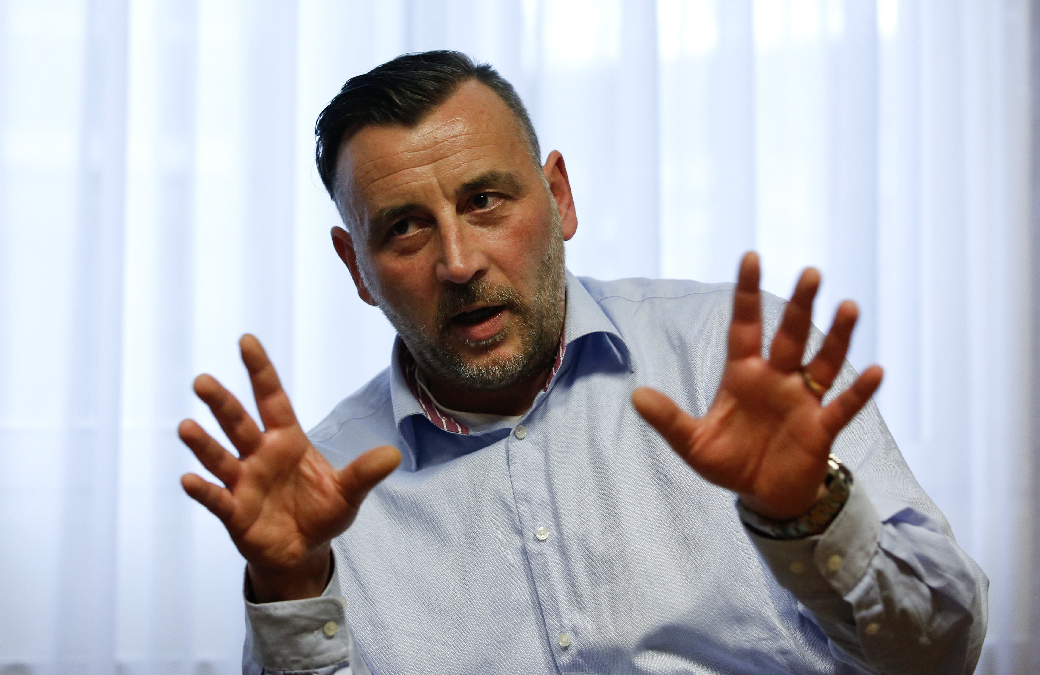 Lutz Bachmann, co-leader of anti-immigration group PEGIDA, a German abbreviation for  Patriotic Europeans against the Islamization of the West  during a Reuters interview in Dresden on Jan. 12, 2015.